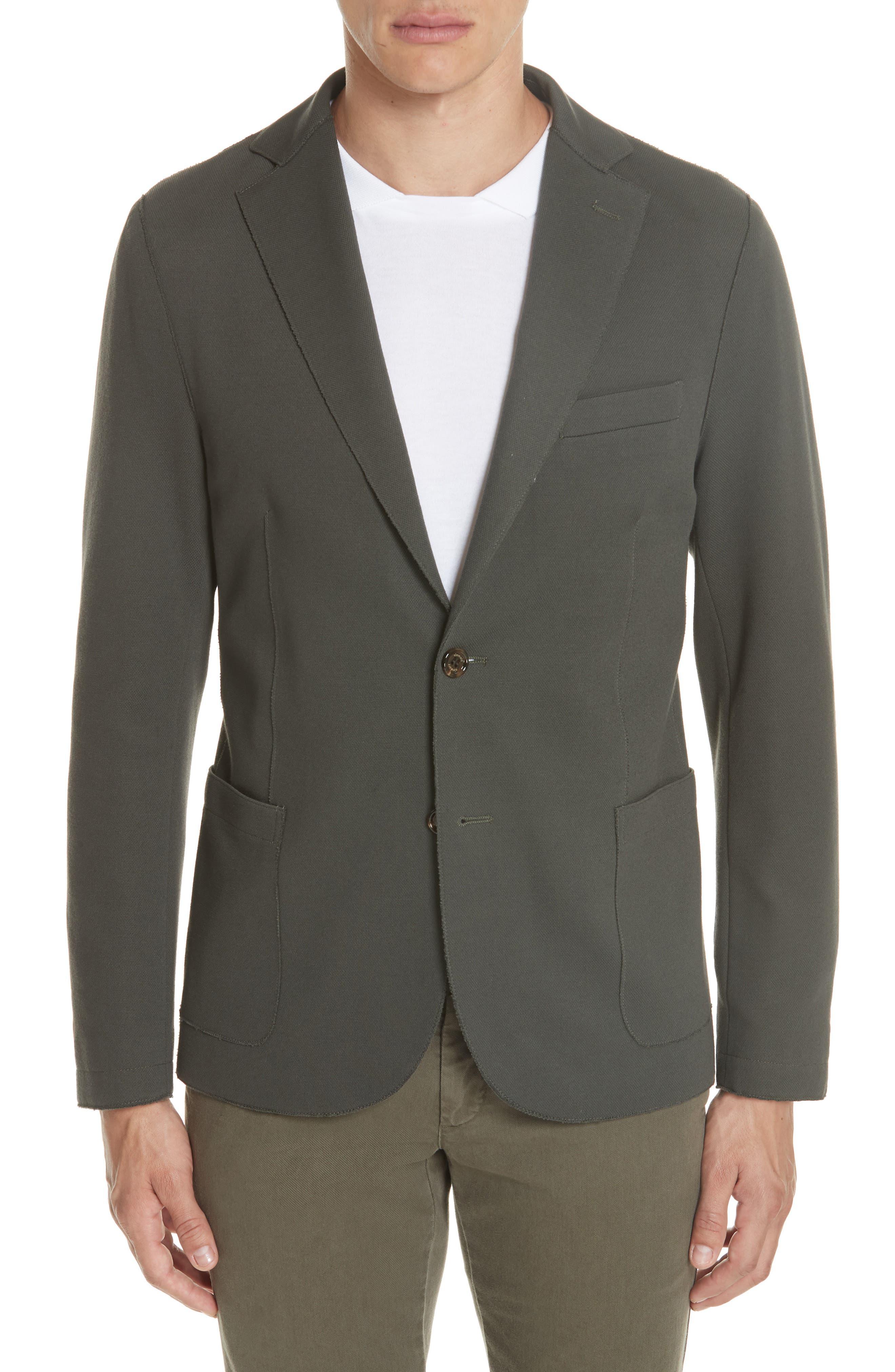 Trim Fit Stretch Cotton Blend Blazer,                         Main,                         color, Sage