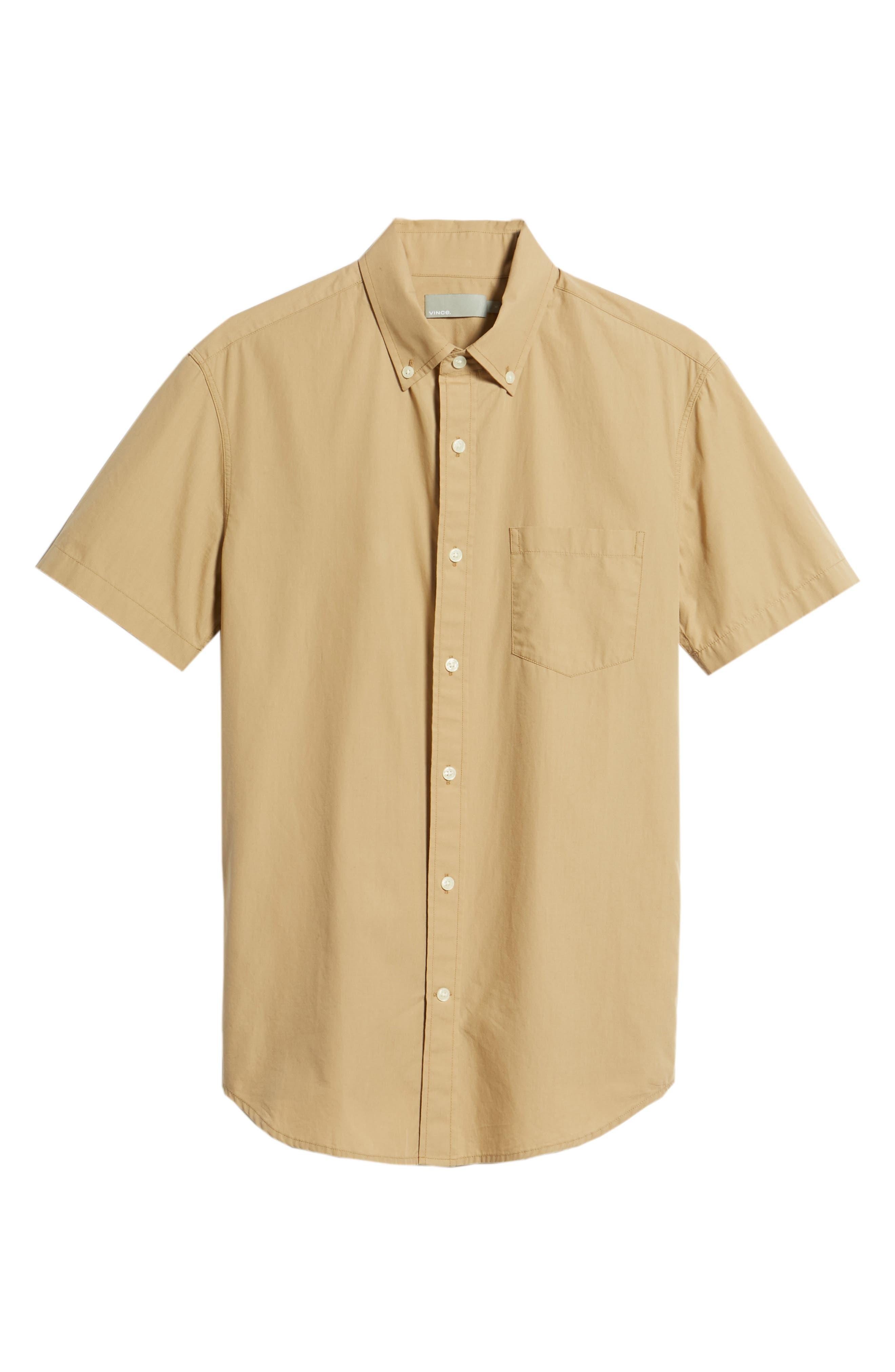 Slim Fit Solid Short Sleeve Sport Shirt,                             Alternate thumbnail 6, color,                             Khaki
