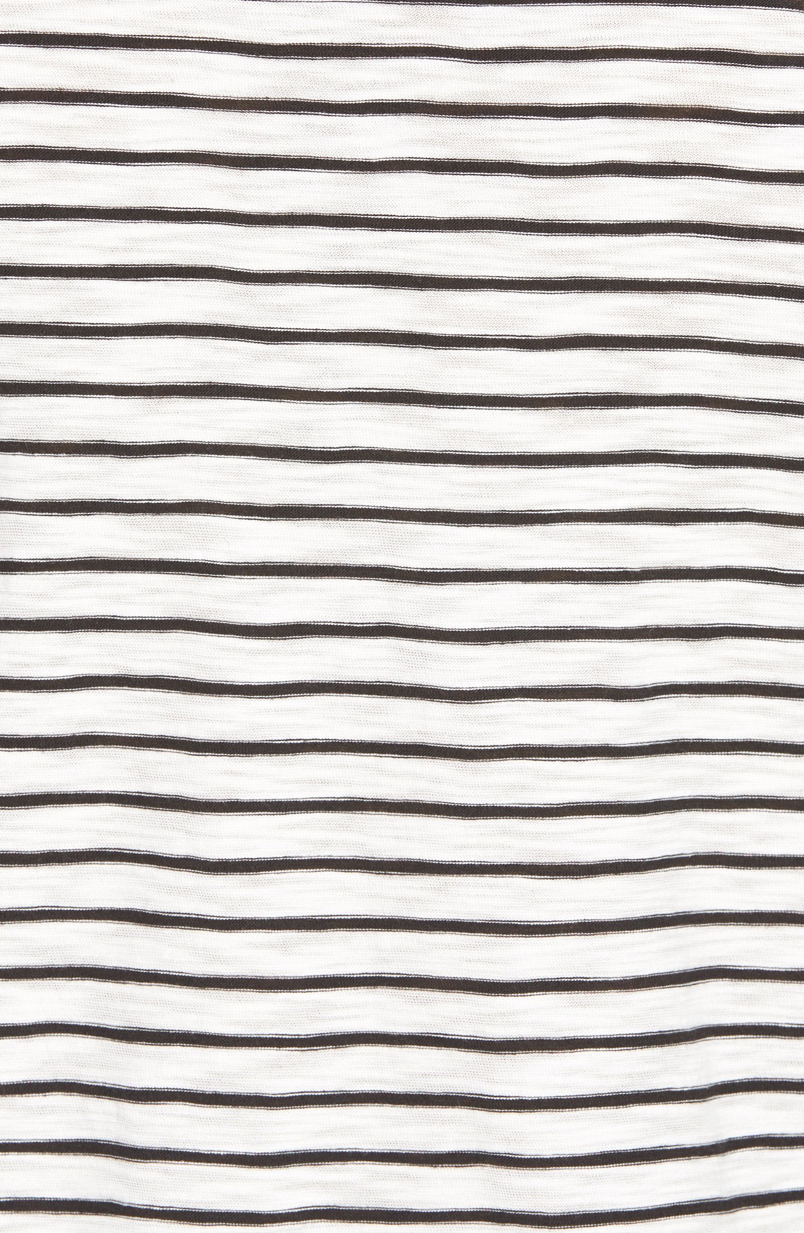 Stripe Crewneck T-Shirt,                             Alternate thumbnail 5, color,                             Off White/ Black