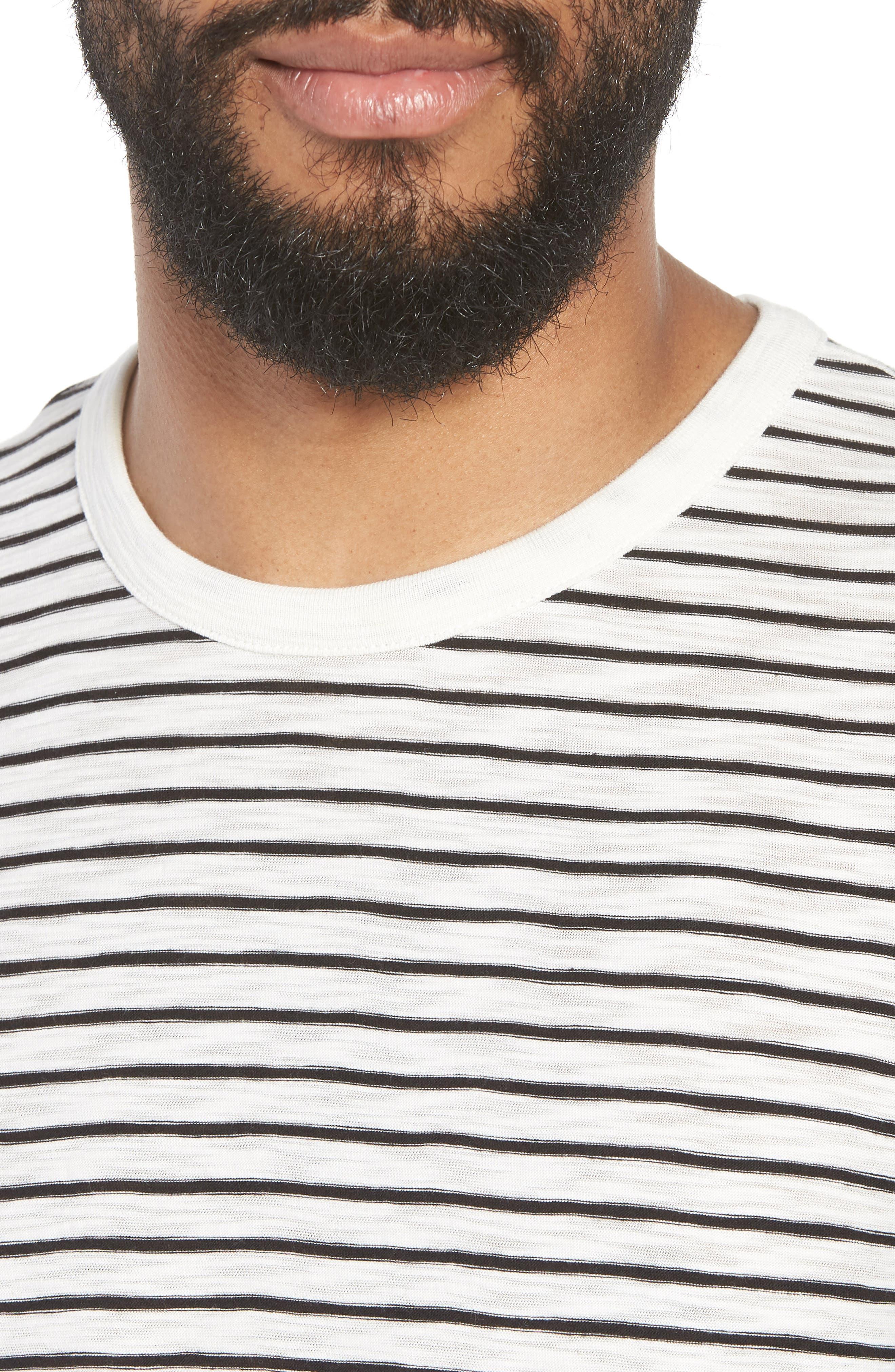 Stripe Crewneck T-Shirt,                             Alternate thumbnail 4, color,                             Off White/ Black