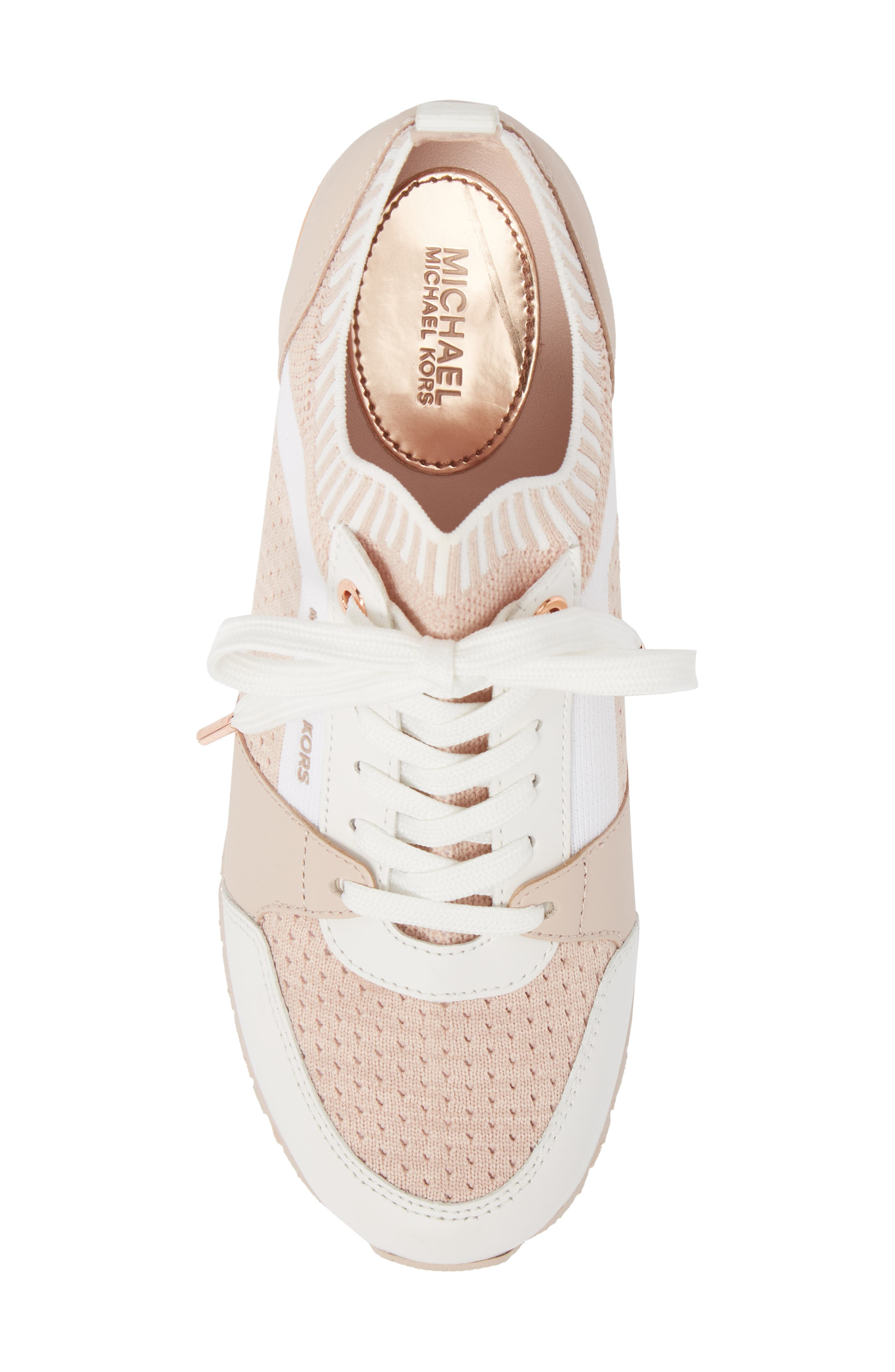 Billie Perforated Sneaker,                             Alternate thumbnail 5, color,                             Soft Pink Fabric