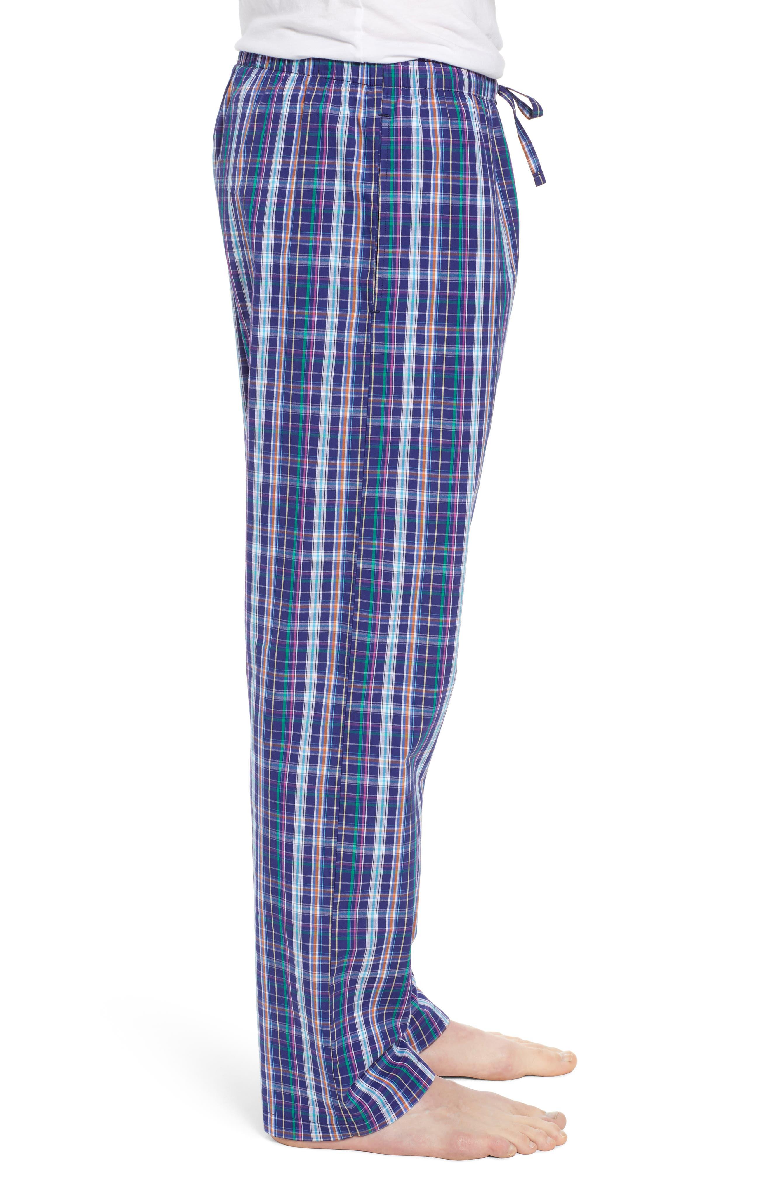 Cotton Lounge Pants,                             Alternate thumbnail 3, color,                             Alton Plaid/ May Orange