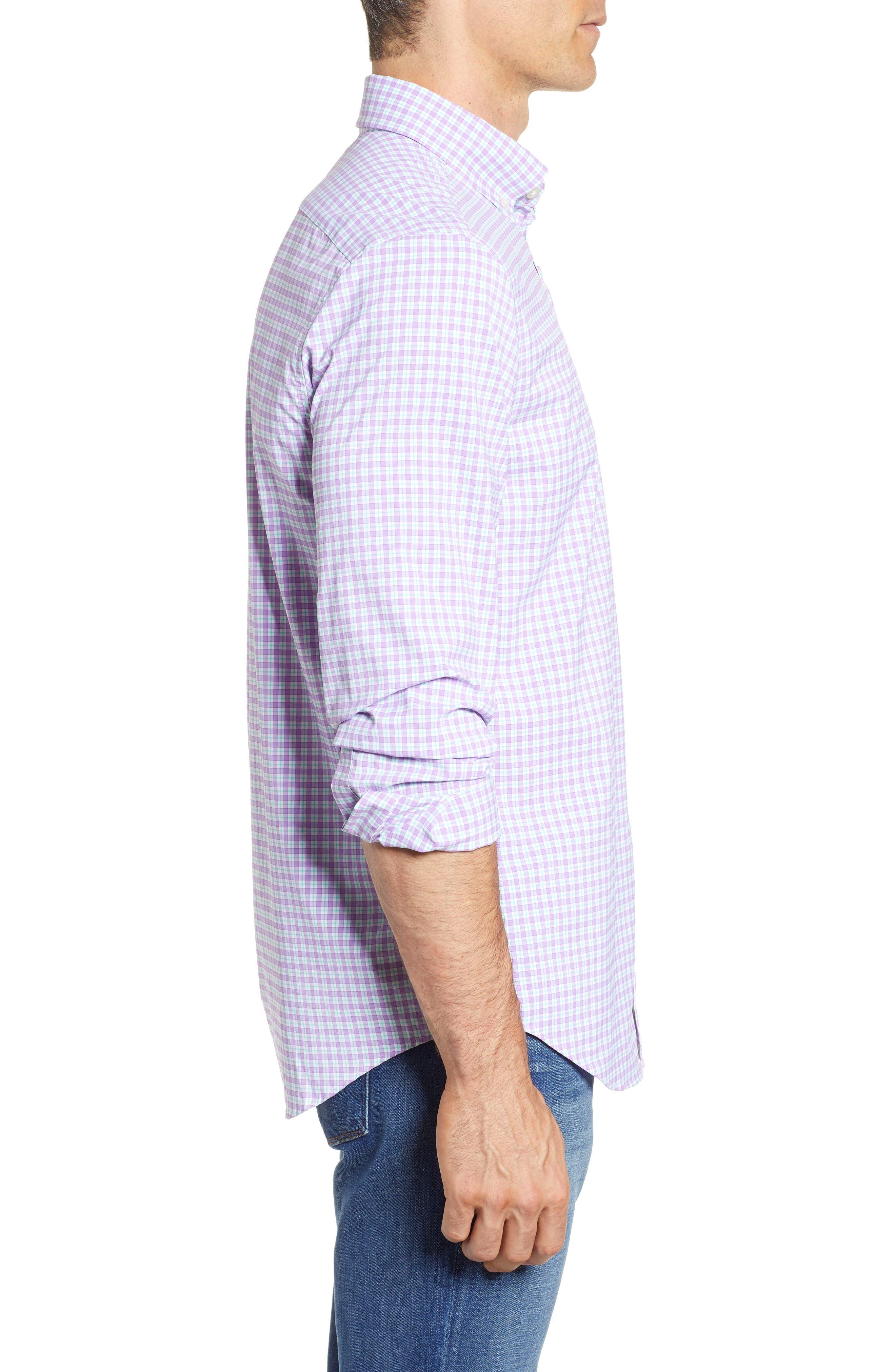 Oyster Pond Slim Fit Plaid Sport Shirt,                             Alternate thumbnail 4, color,                             Sea Urchin