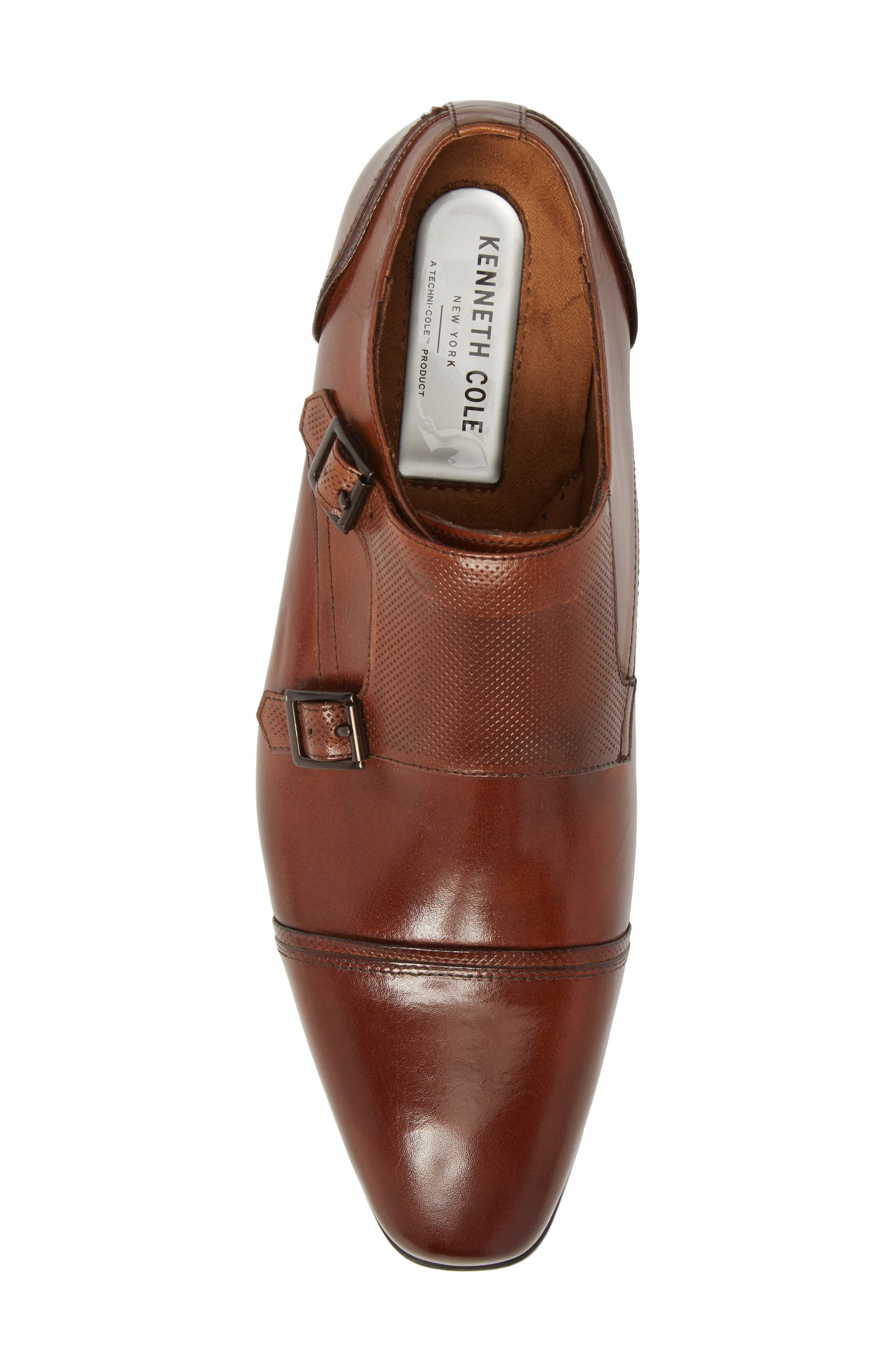 Oliver Cap Toe Monk Shoe,                             Alternate thumbnail 5, color,                             Cognac Leather
