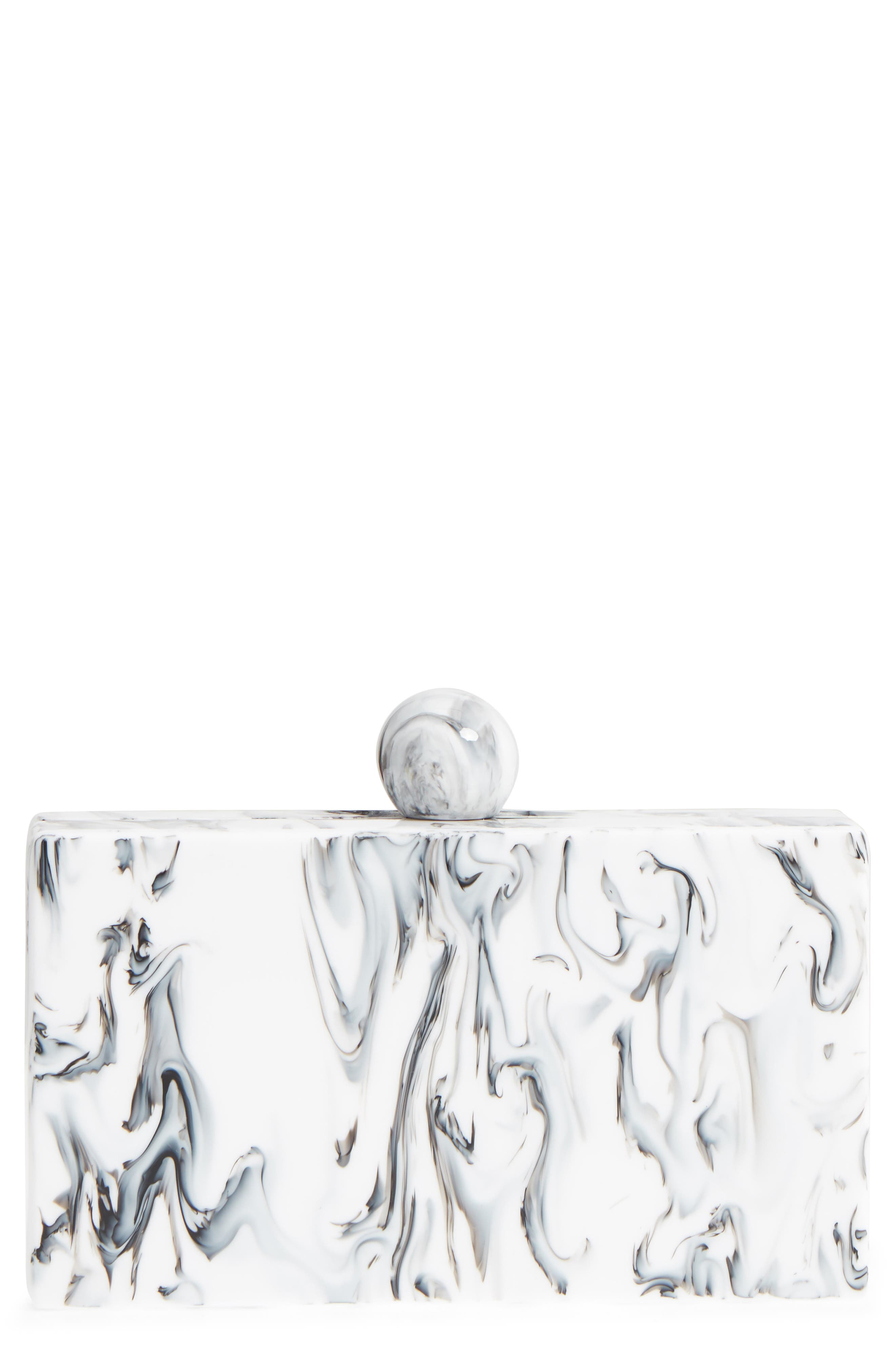 Valyn Marbled Box Clutch,                         Main,                         color, White Marble