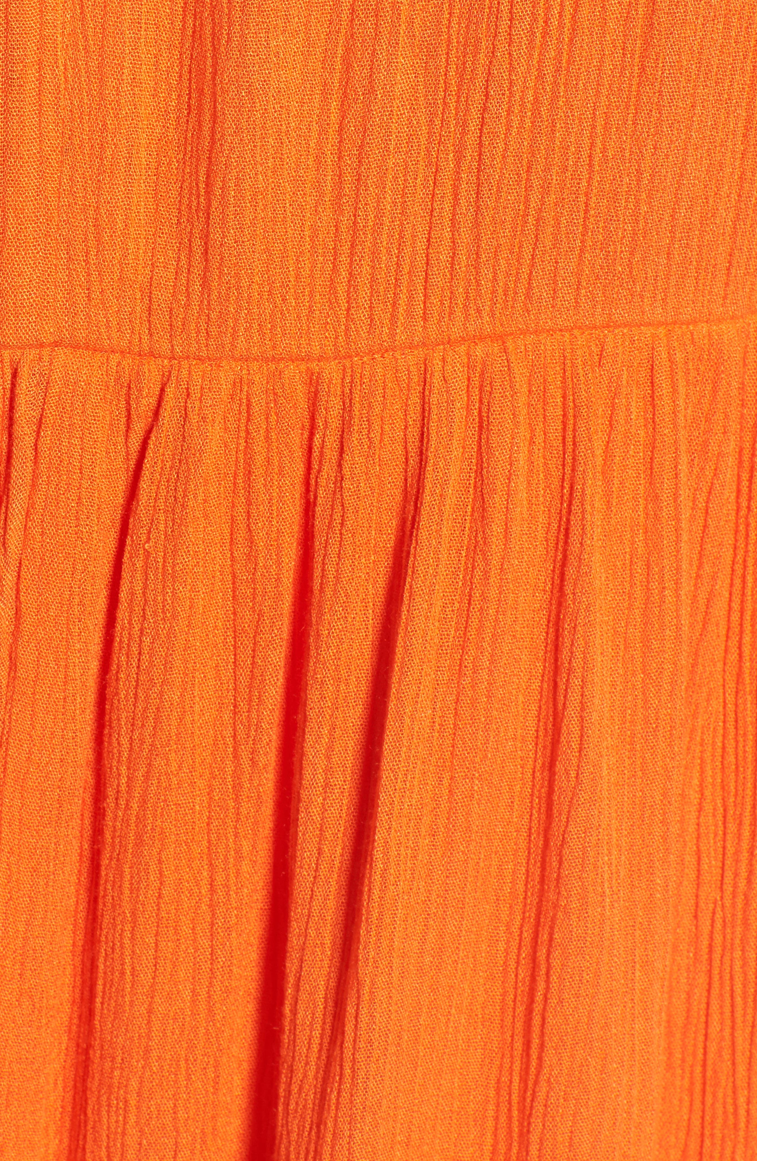 Embroidered Dress,                             Alternate thumbnail 6, color,                             Orange
