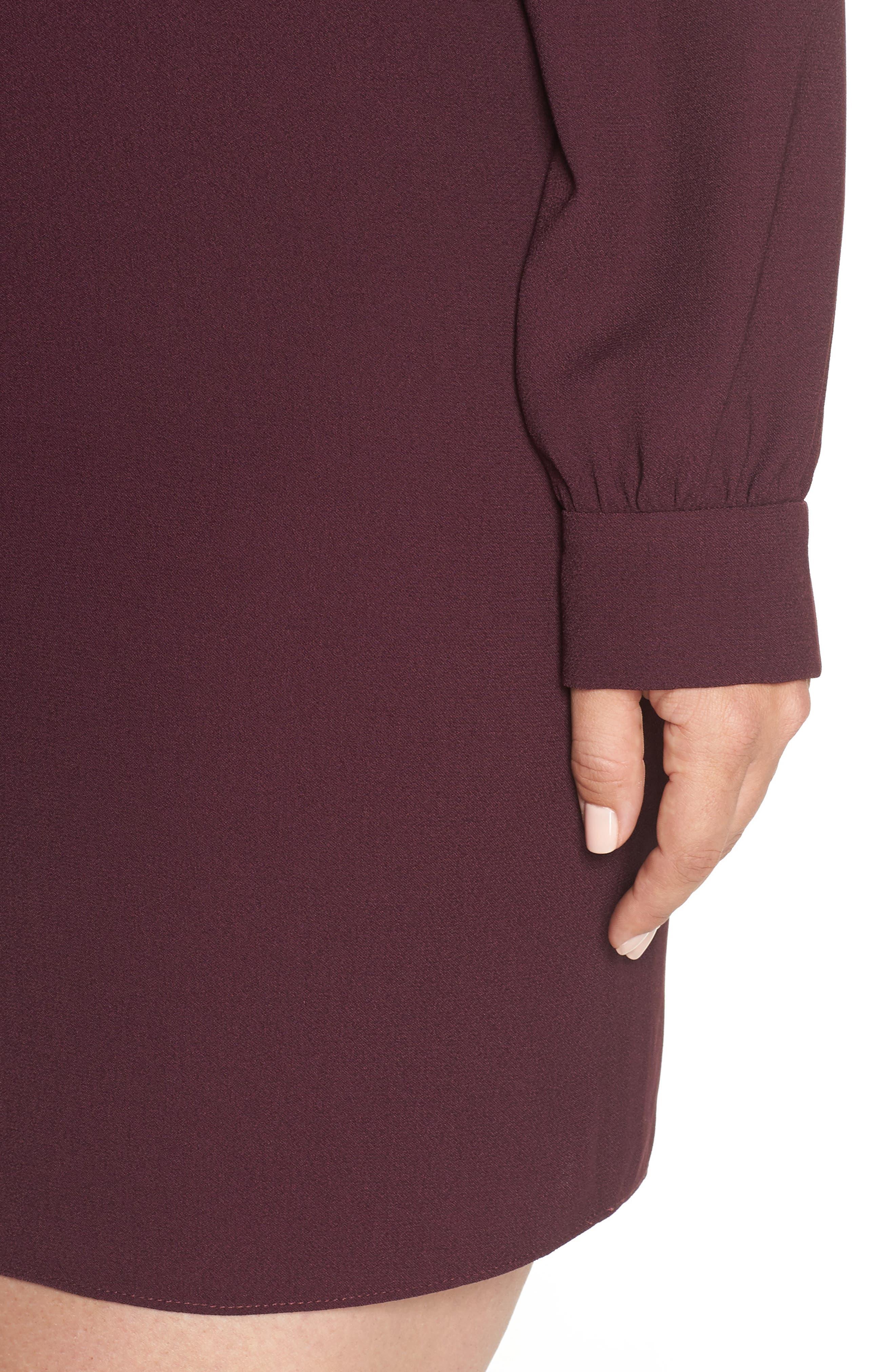 V-Back Shift Dress,                             Alternate thumbnail 10, color,                             Burgundy Stem