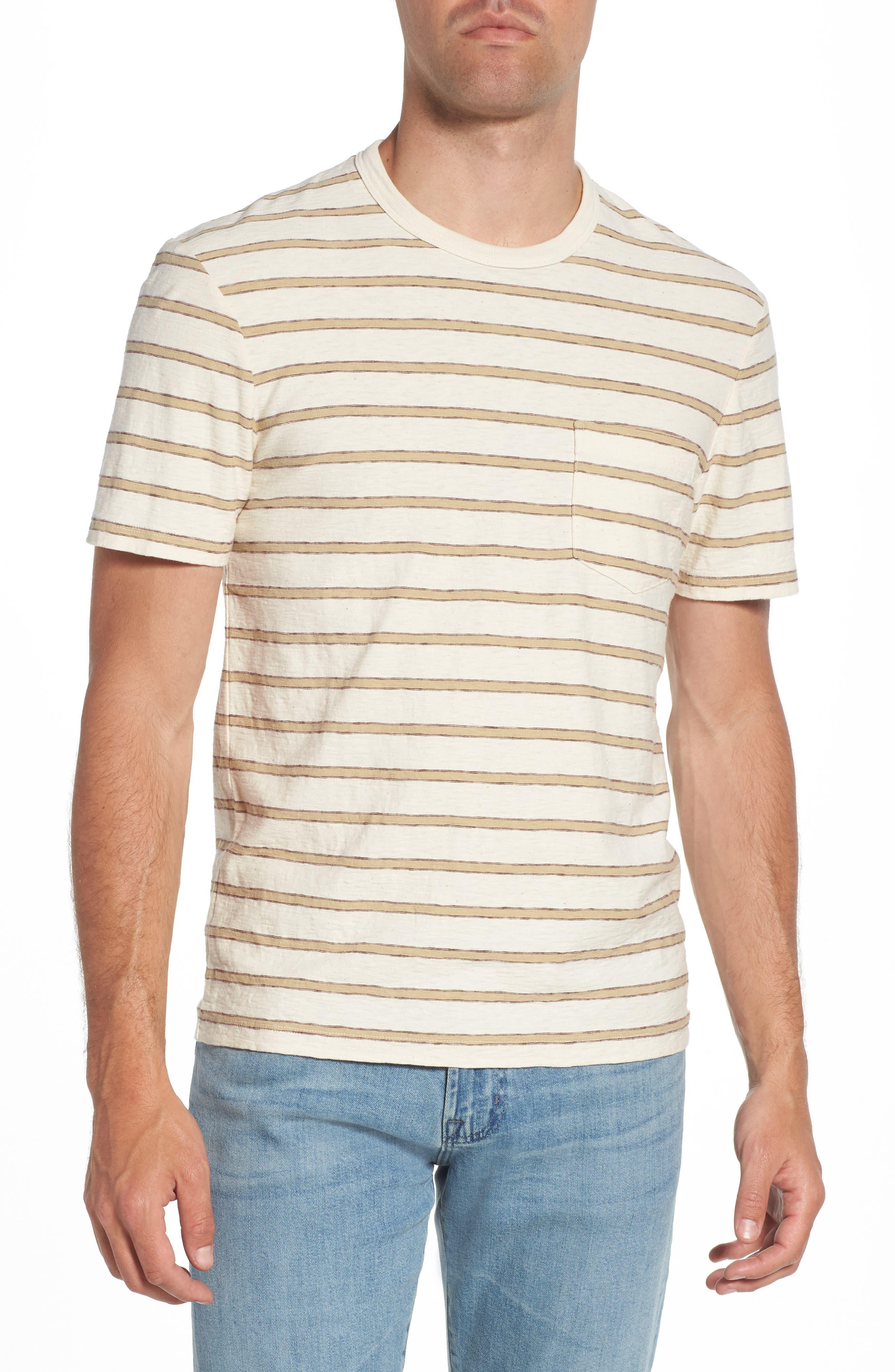 Vintage Stripe Pocket T-Shirt,                             Main thumbnail 1, color,                             Cotton Stripe