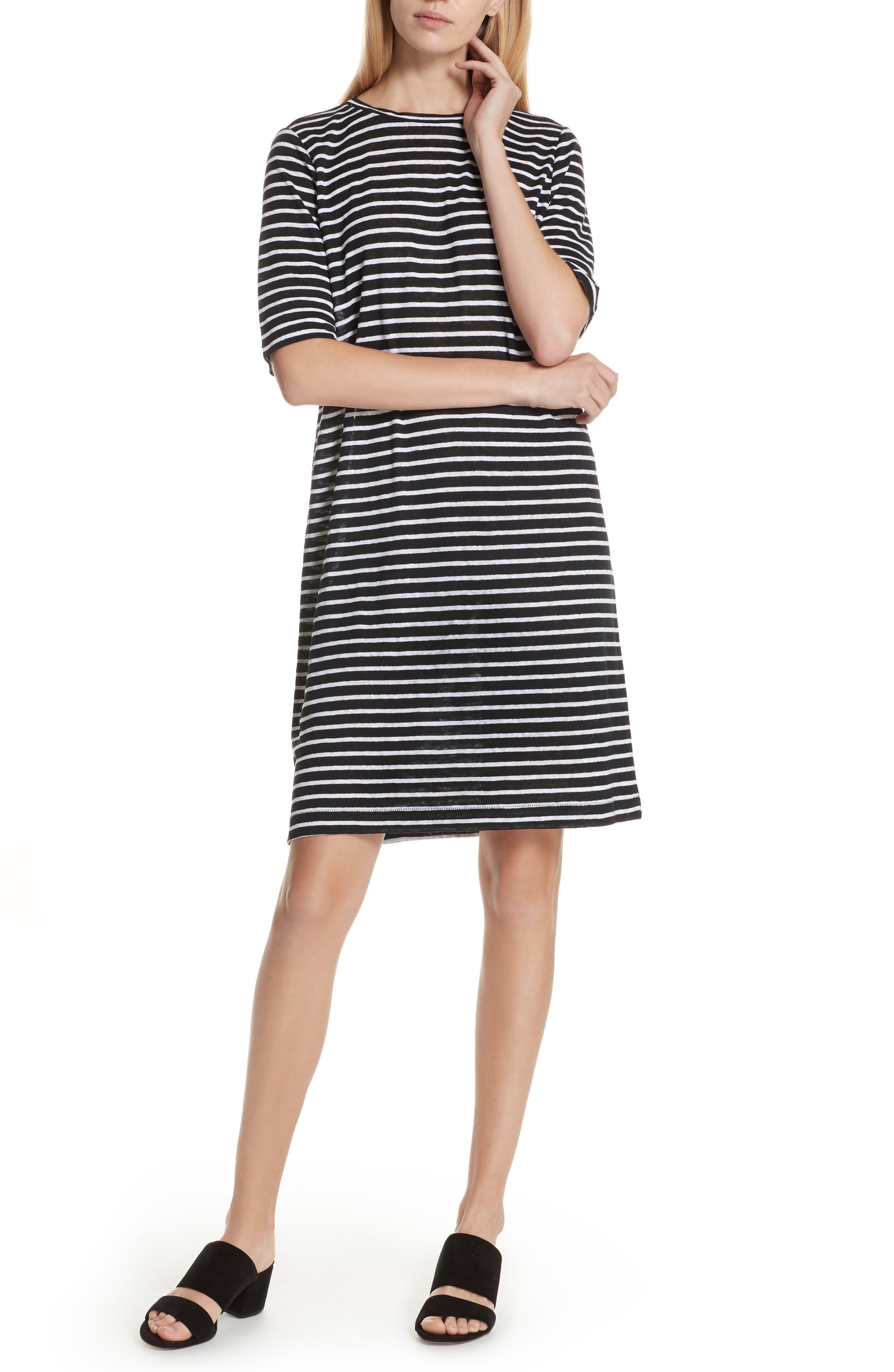 Stripe Organic Linen Knit Shift Dress,                         Main,                         color, Black/ White