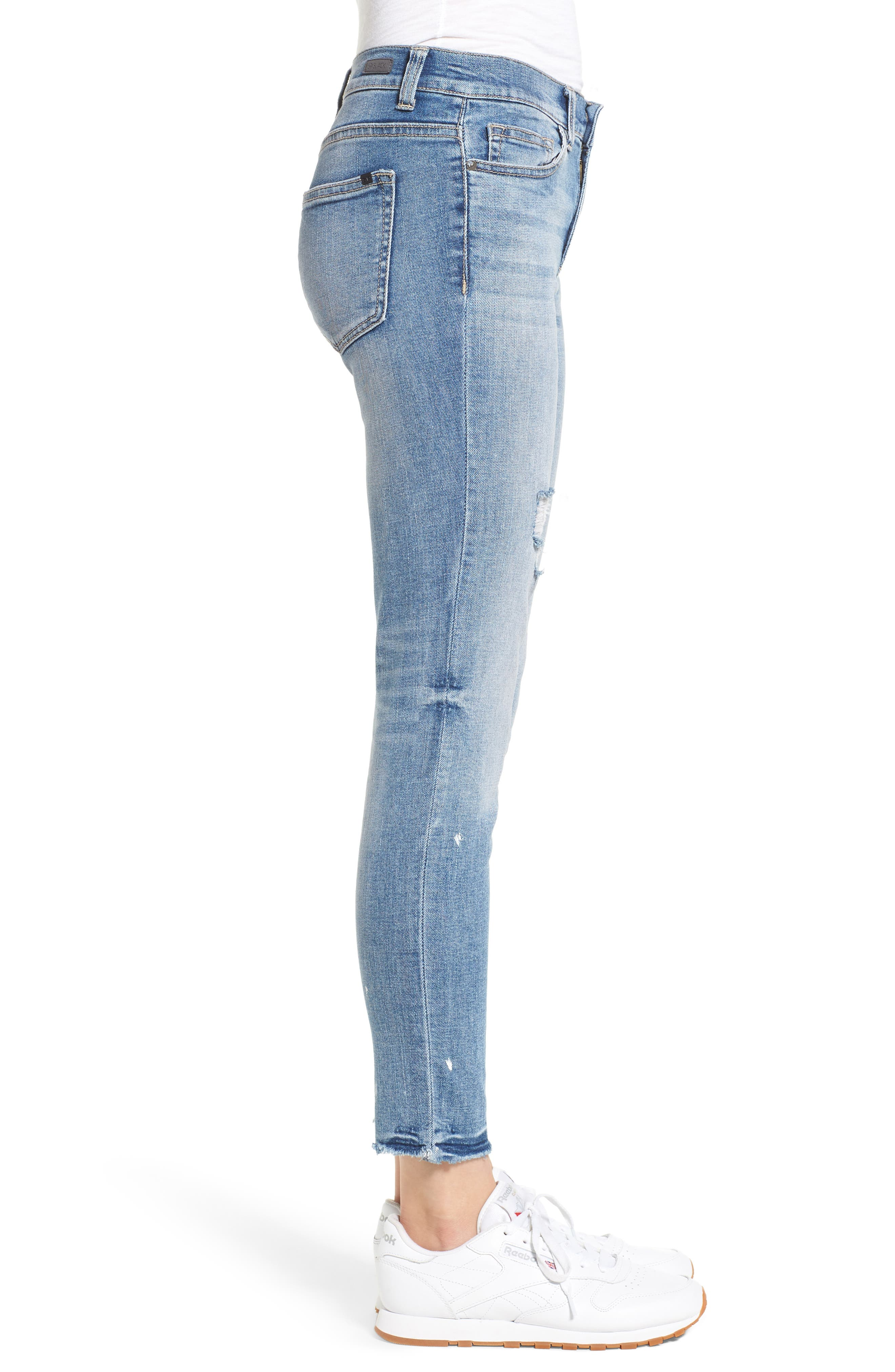 Ripped Skinny Jeans,                             Alternate thumbnail 3, color,                             Light Wash