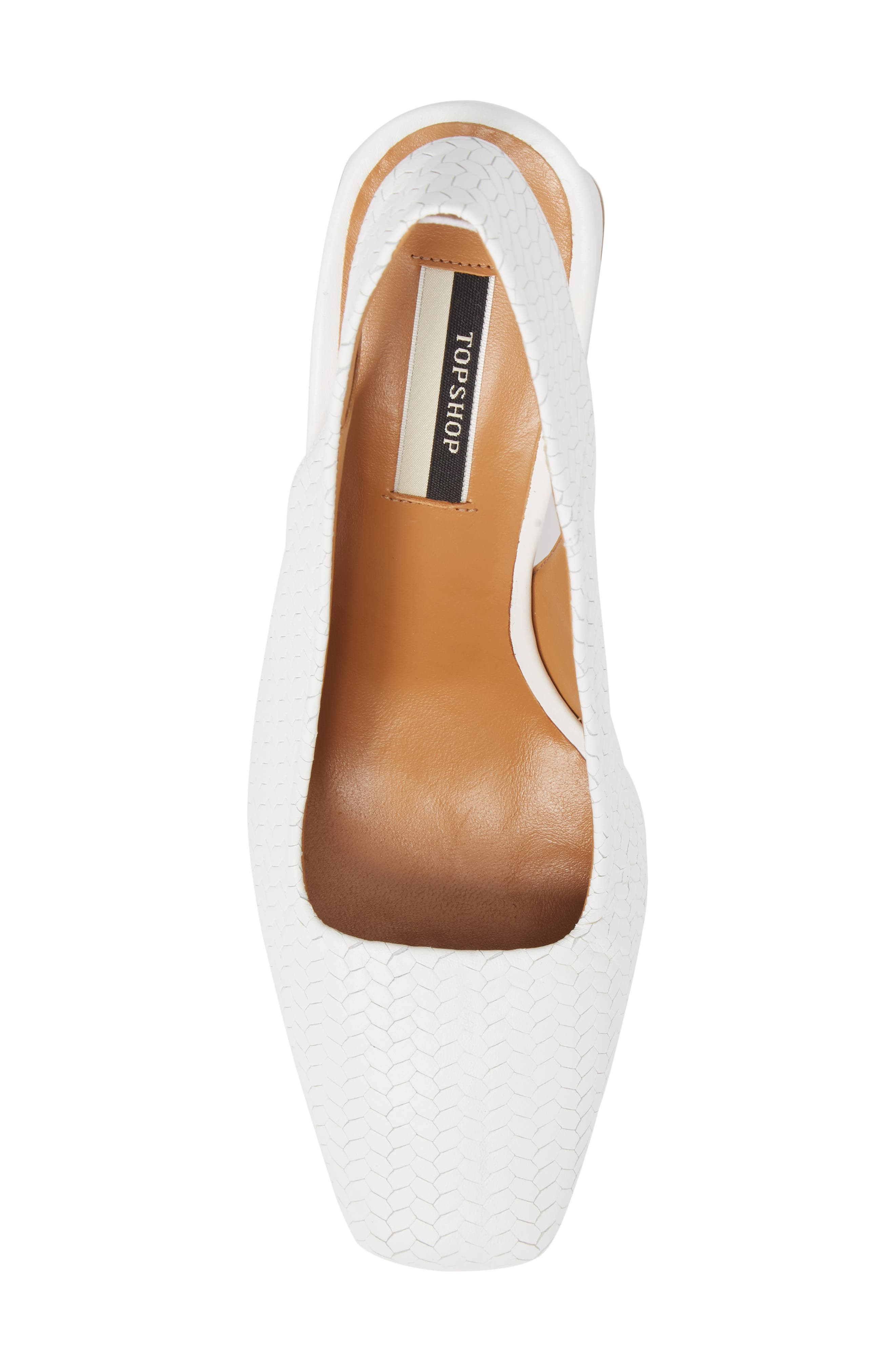 Gainor Block Heel Slingback Pump,                             Alternate thumbnail 5, color,                             White