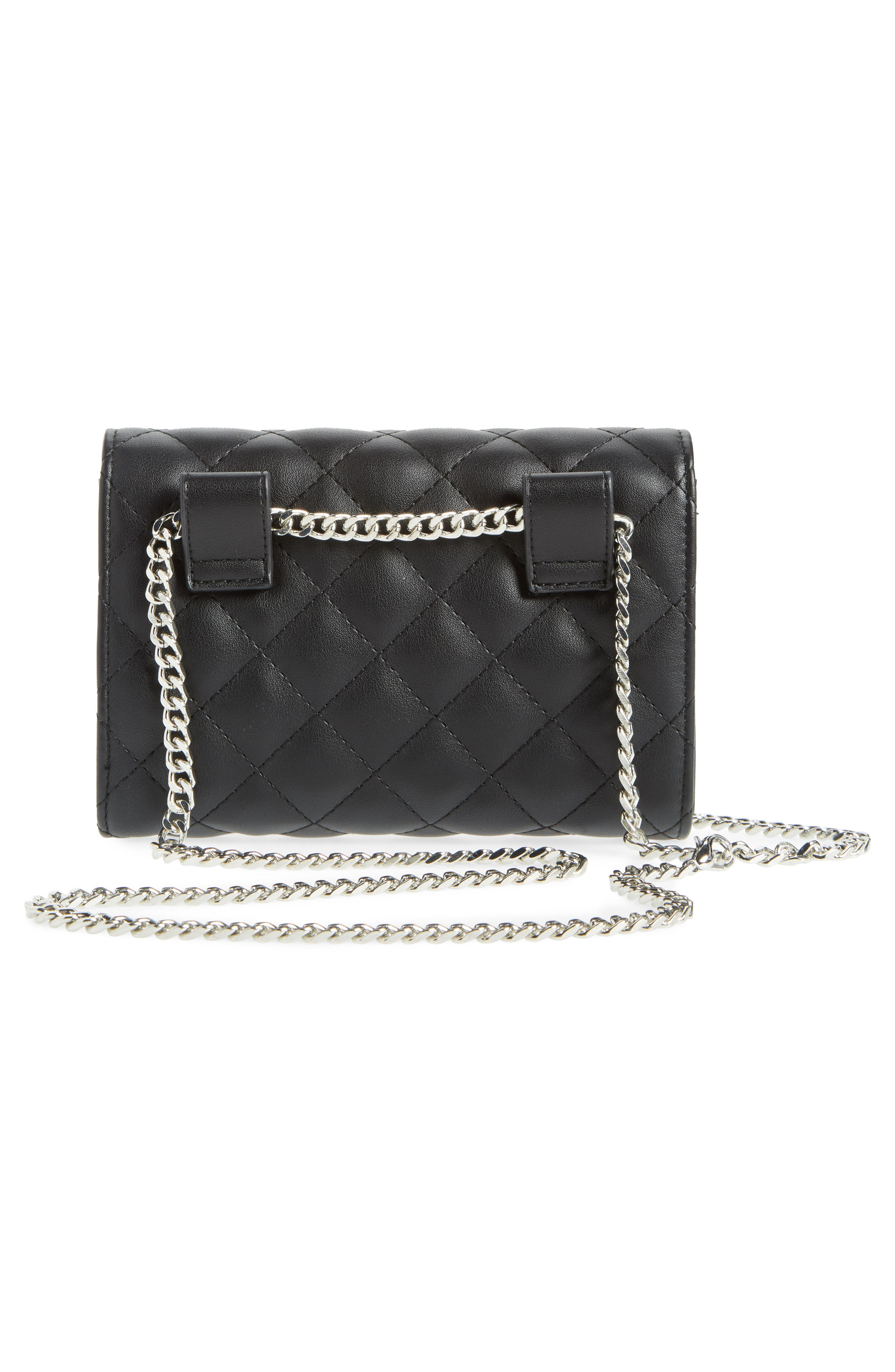 Quilted Bag with Crossbody Strap,                             Alternate thumbnail 5, color,                             Black