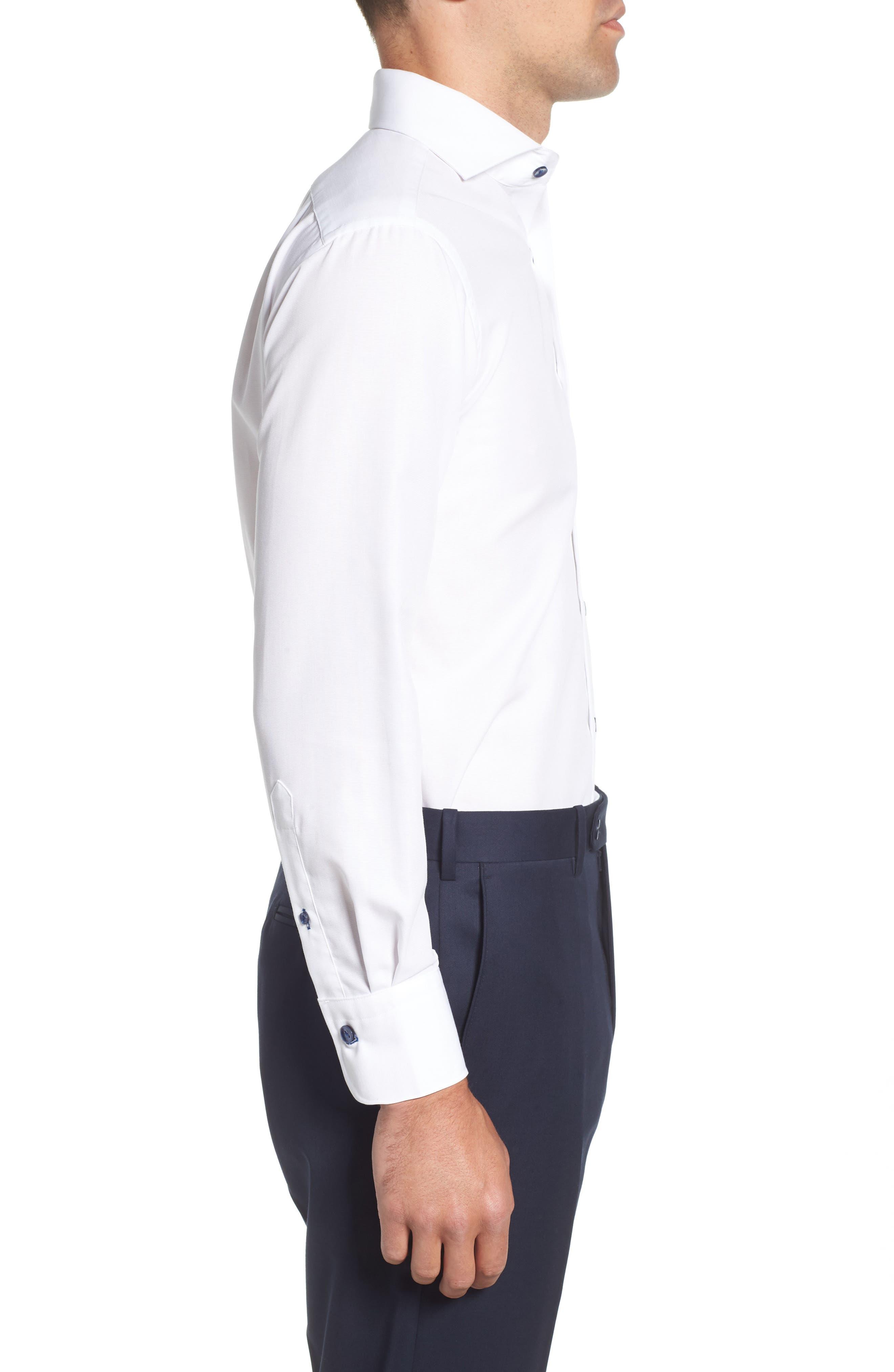 Trim Fit Solid Dress Shirt,                             Alternate thumbnail 4, color,                             White