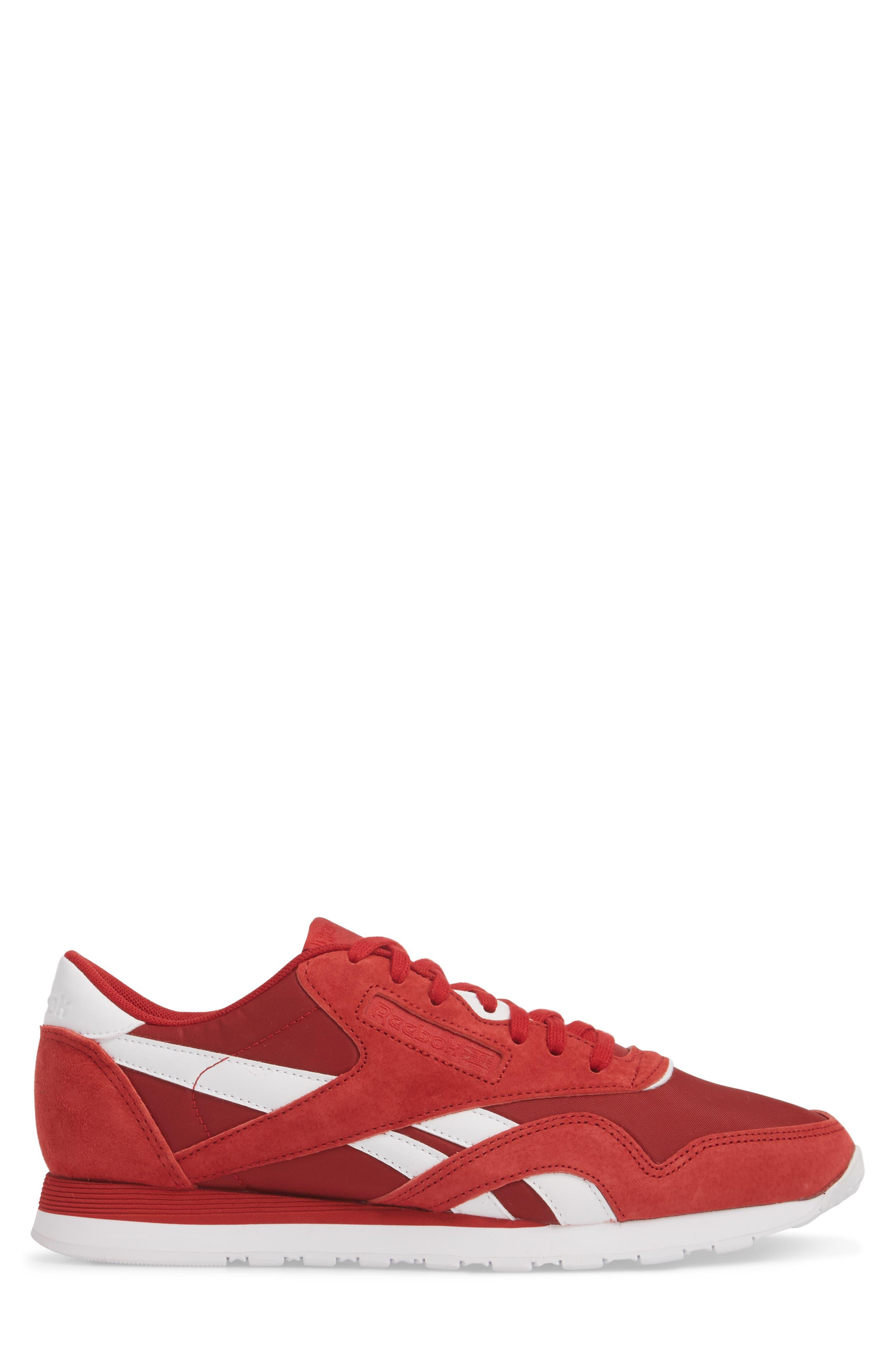 Classic Nylon PN Sneaker,                             Alternate thumbnail 3, color,                             Power Red/ White