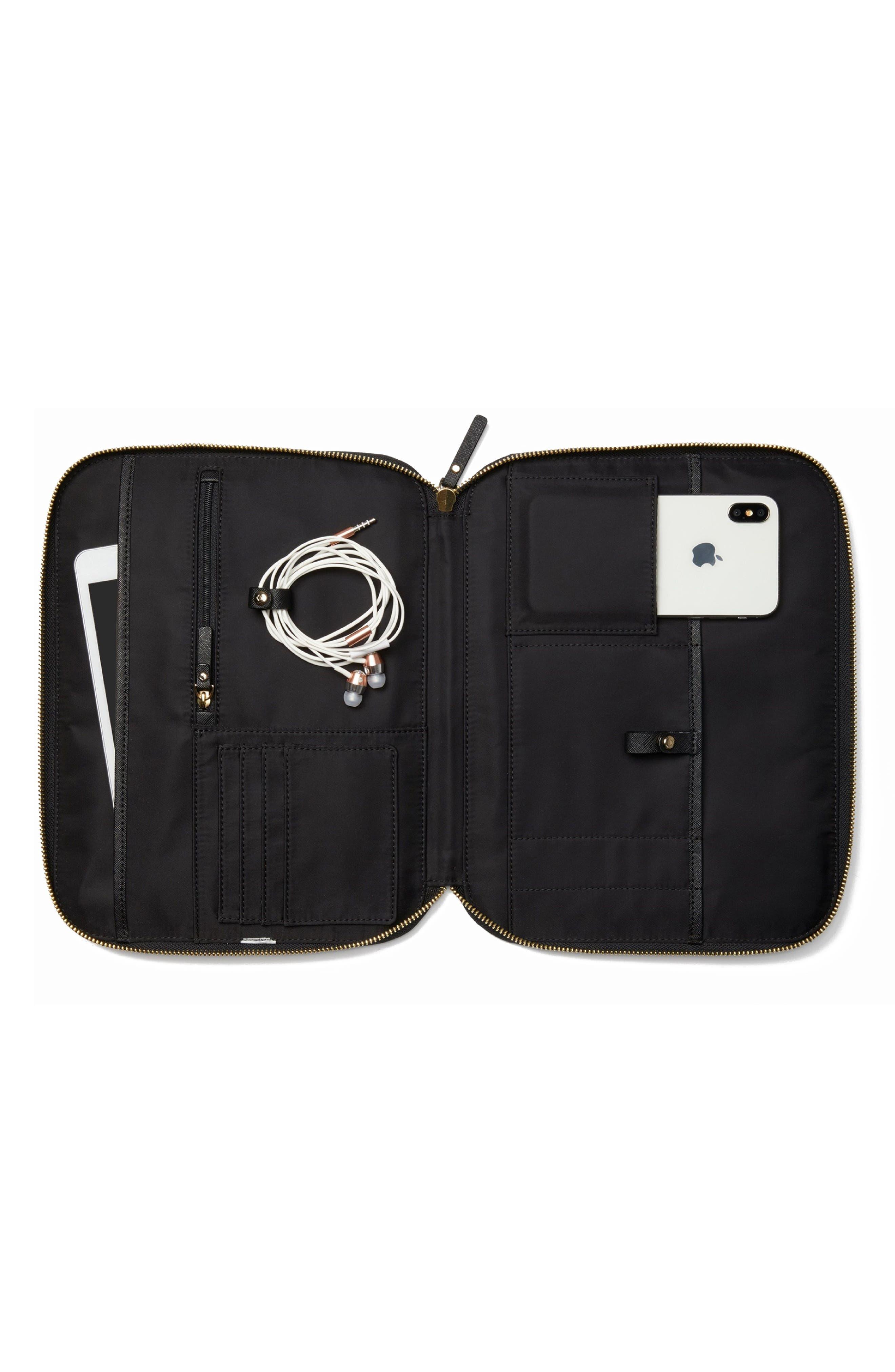 saffiano leather organization tablet sleeve,                             Alternate thumbnail 6, color,                             Black