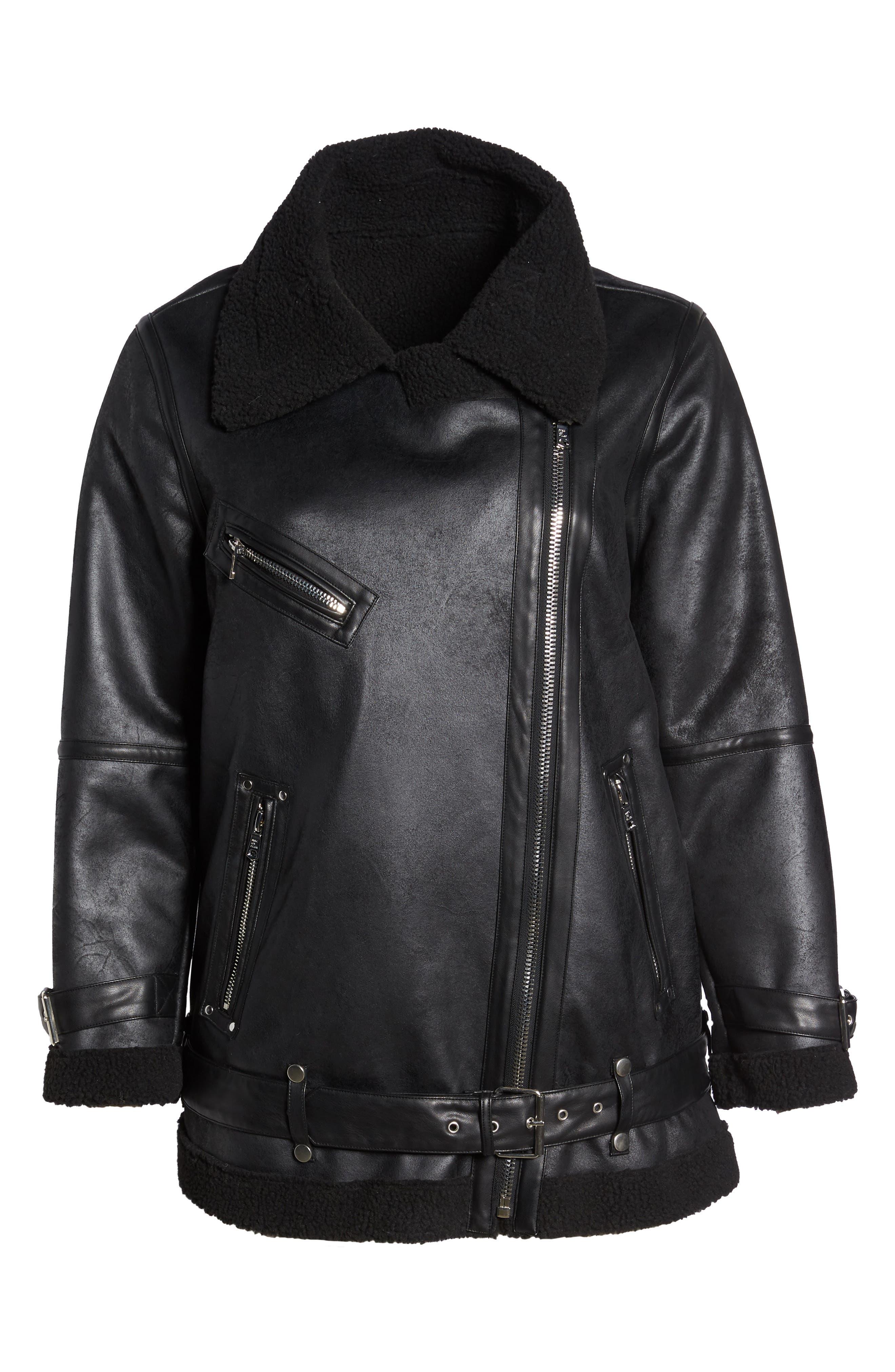 Faux Shearling Biker Jacket,                             Alternate thumbnail 8, color,                             Black