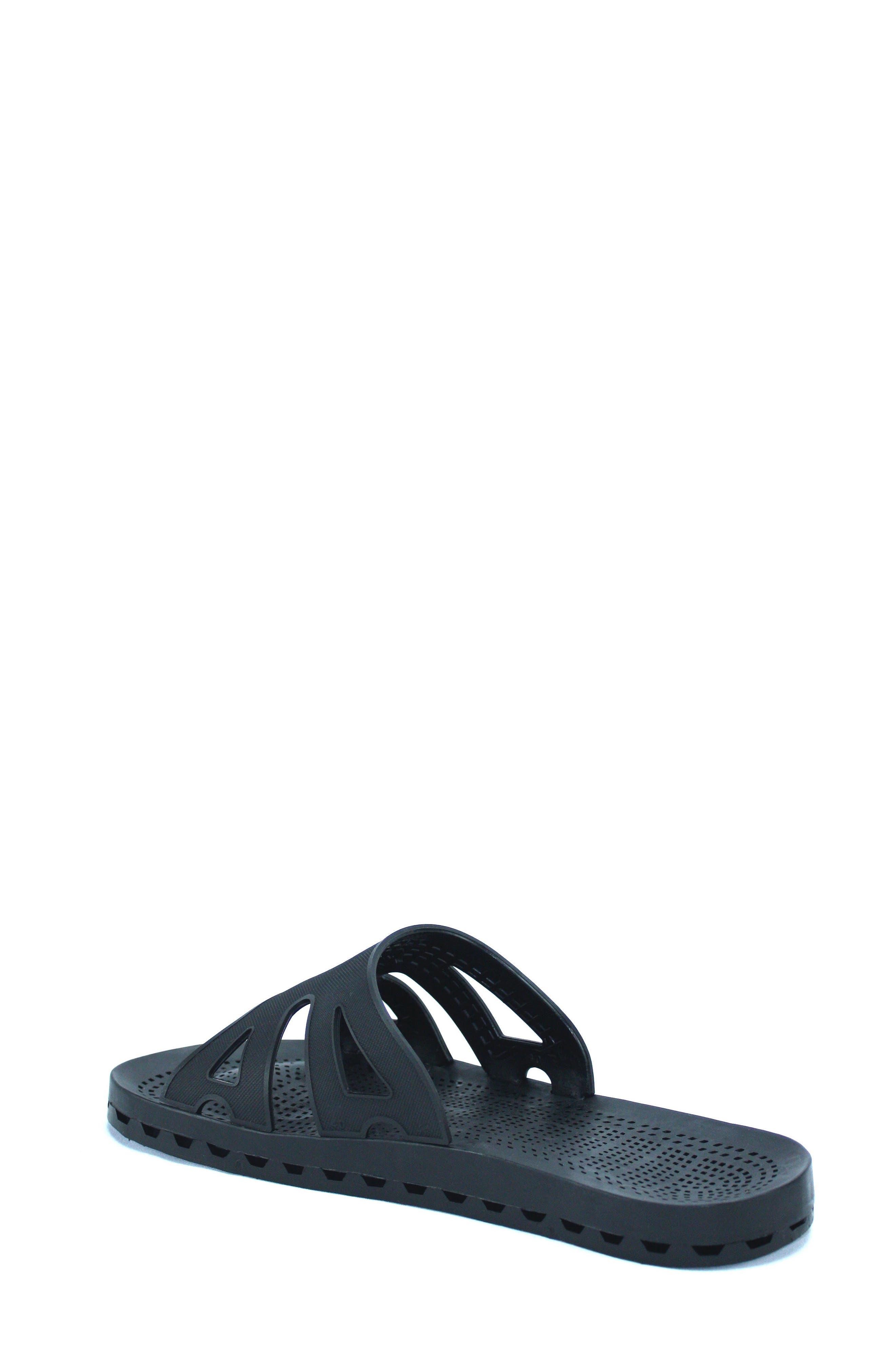 Regatta Slide Sandal,                             Alternate thumbnail 2, color,                             Solid Black Rubber