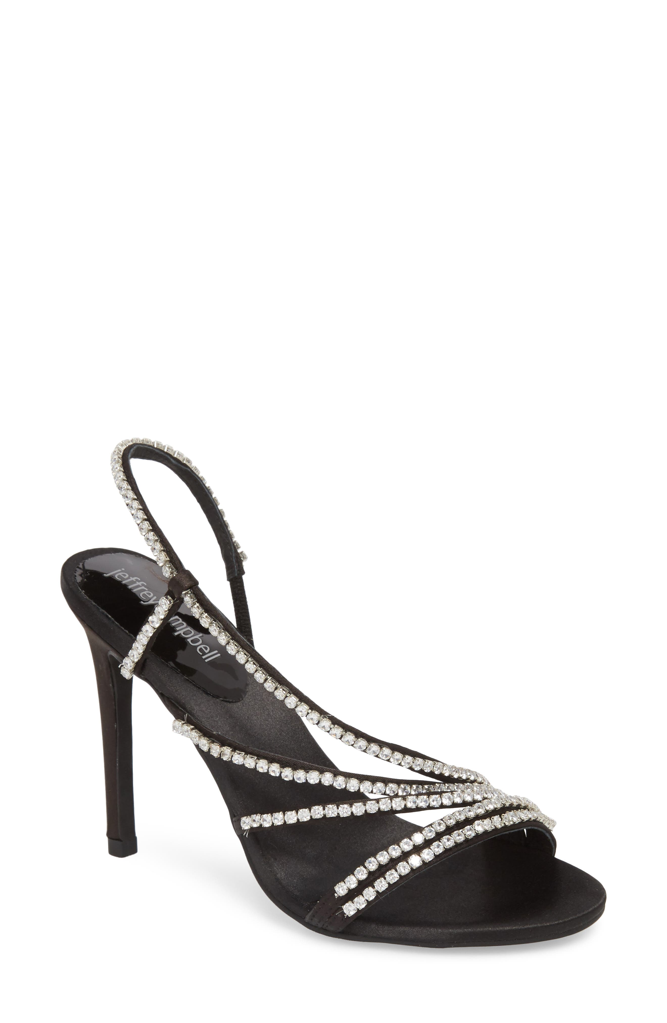 Lilian Embellished Strappy Sandal,                             Main thumbnail 1, color,                             Black Satin Silver