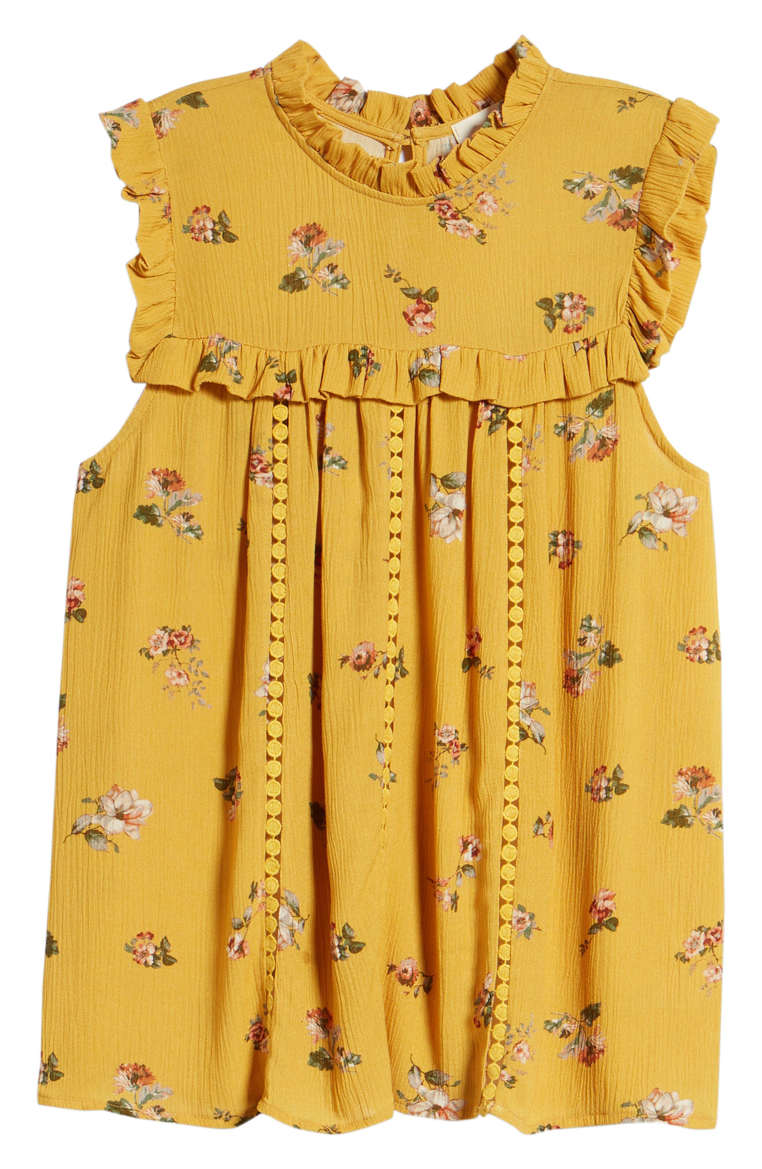 Ruffled Floral Top,                             Alternate thumbnail 6, color,                             Marigold Print