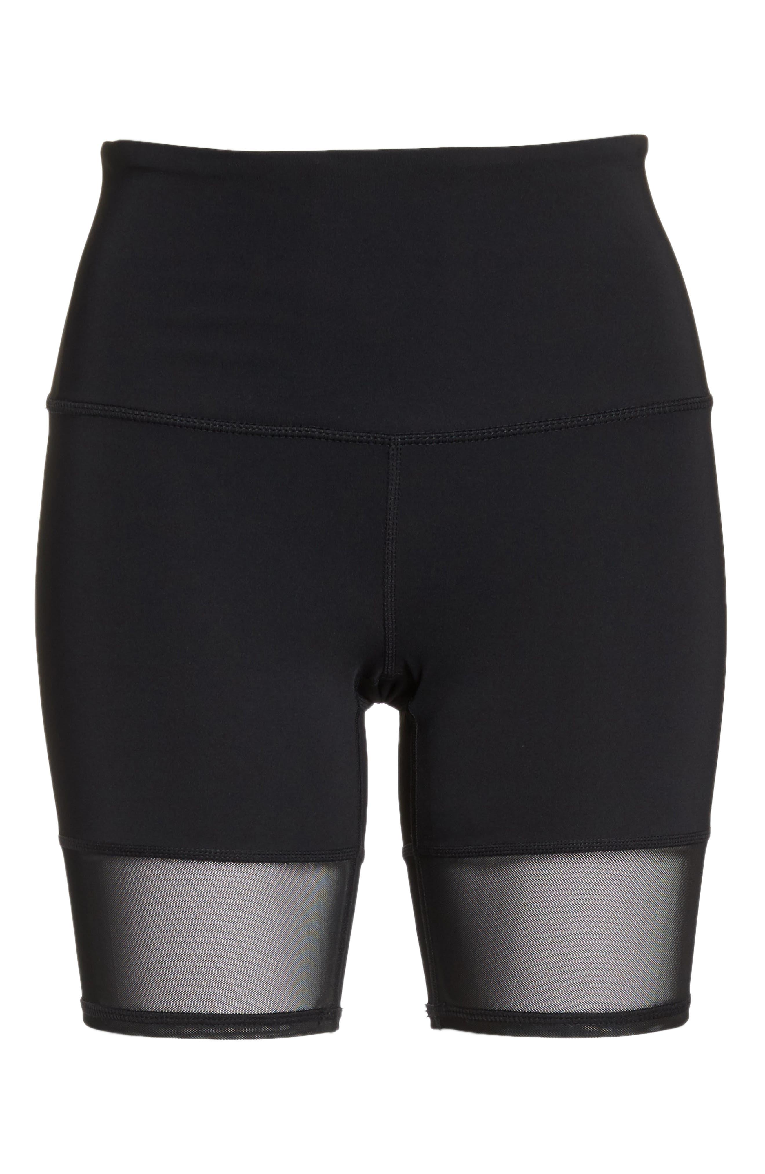 Mia Vision High Waist Mesh Bike Shorts,                             Alternate thumbnail 7, color,                             Black
