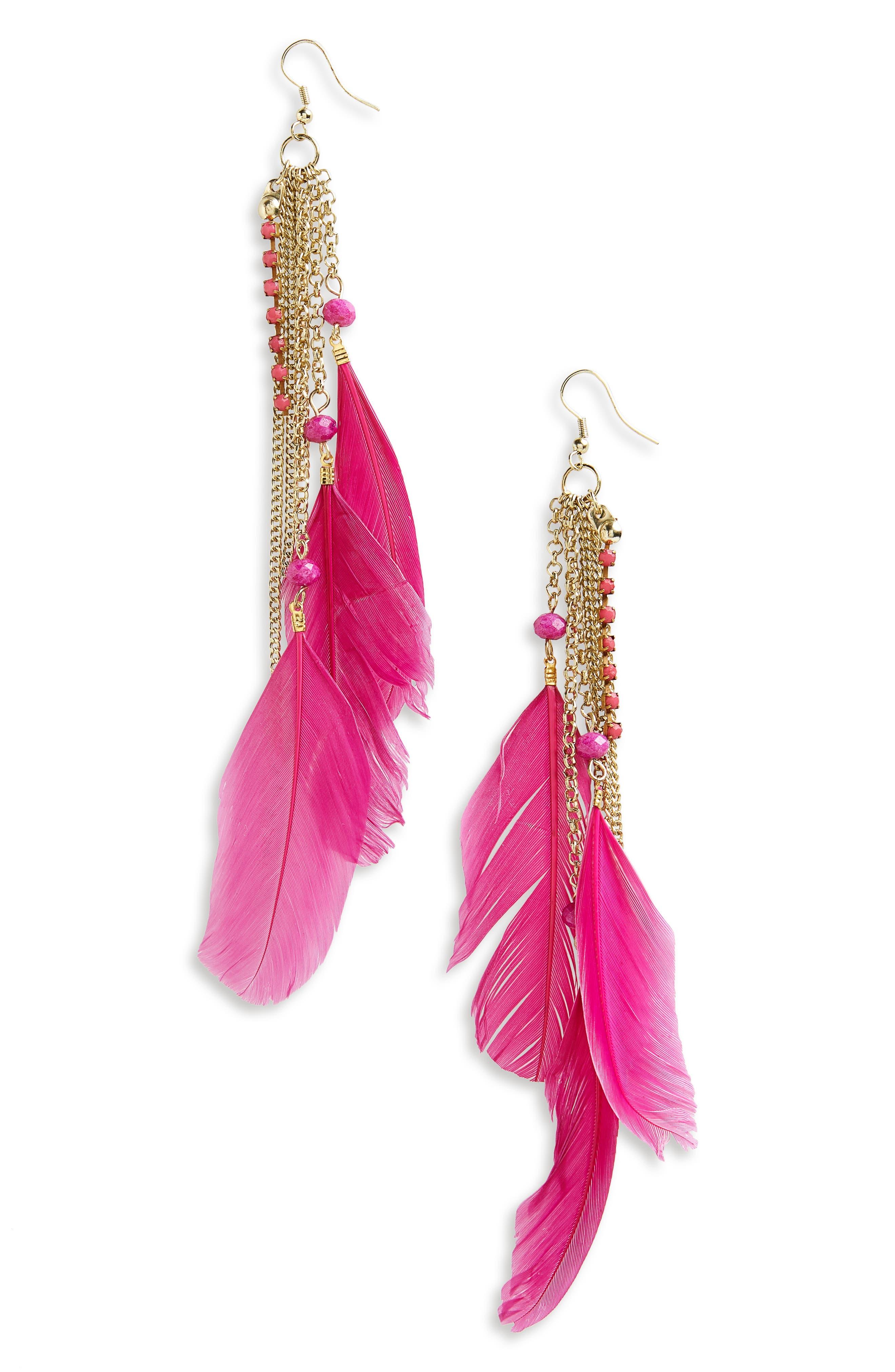 Chloe Feather Earrings,                         Main,                         color, Fuschia
