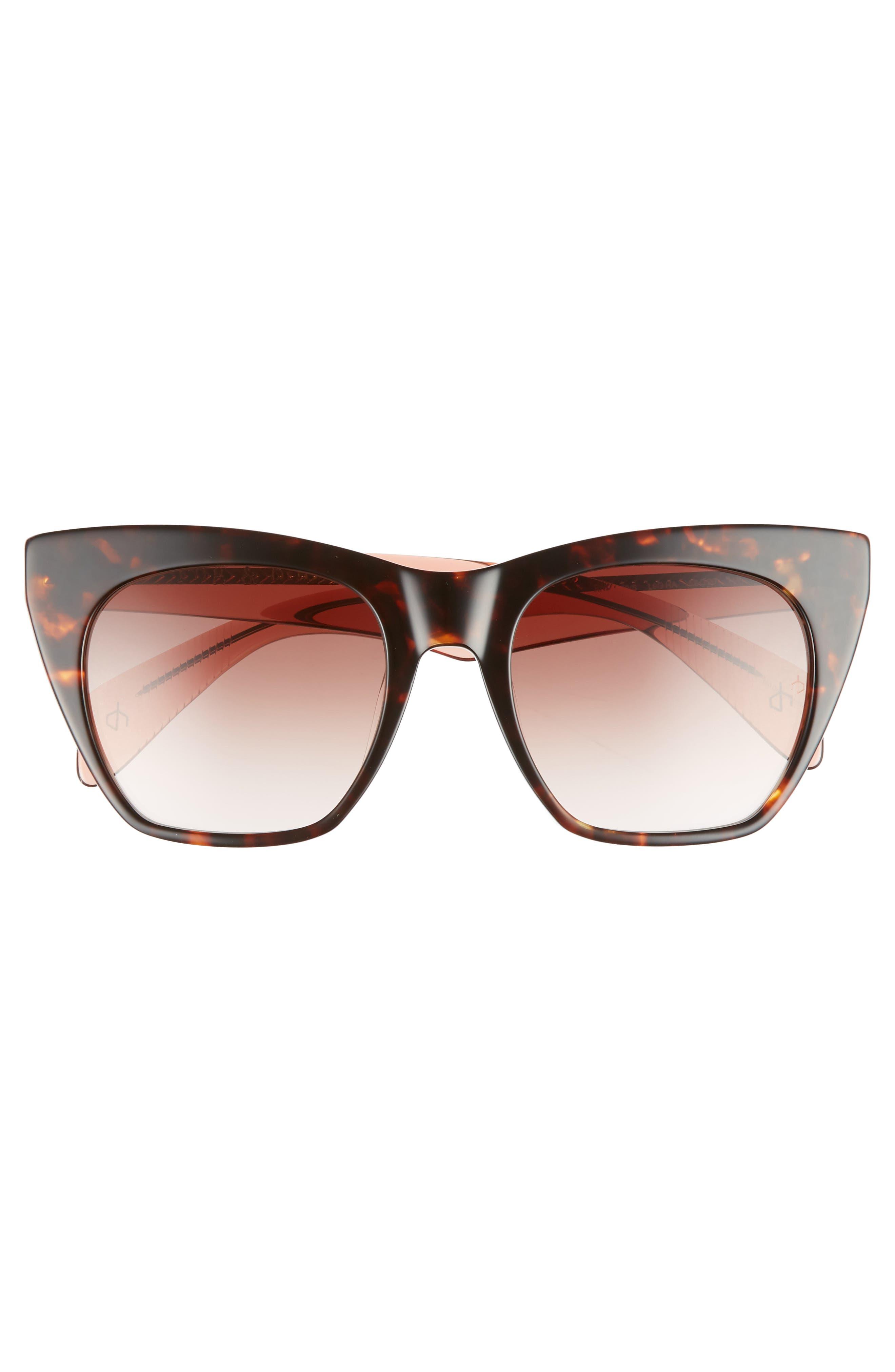 52mm Cat Eye Sunglasses,                             Alternate thumbnail 3, color,                             Havana Orange