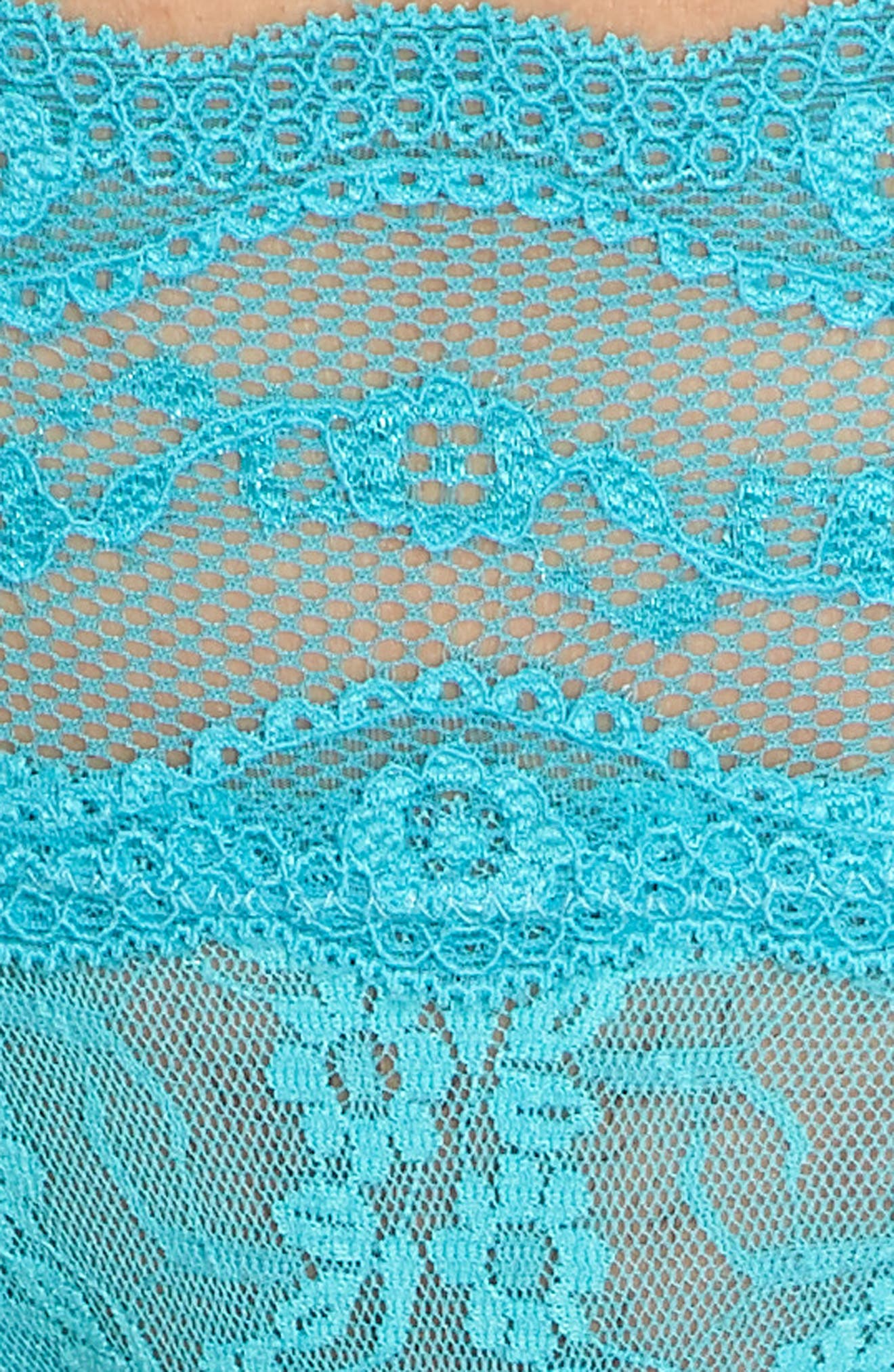 'Lace Kiss' Thong,                             Alternate thumbnail 5, color,                             Peacock Blue