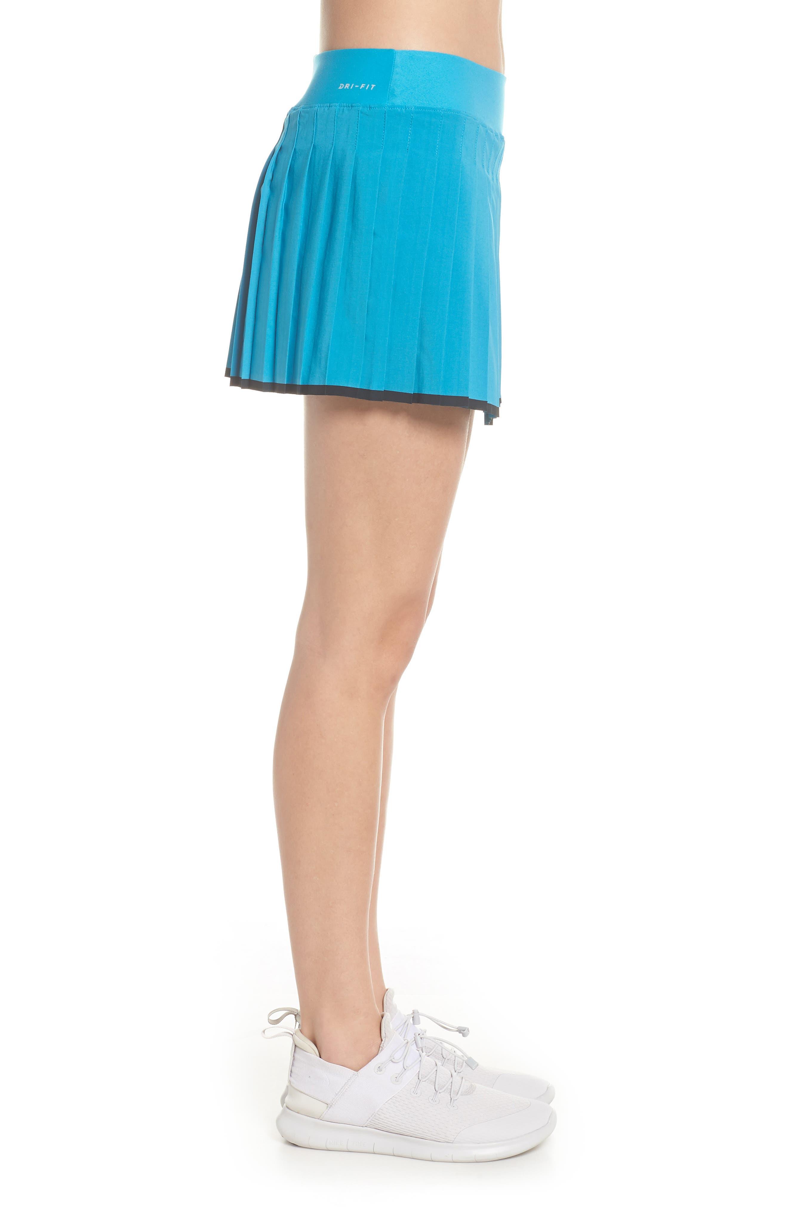 'Victory' Pleat Dri-FIT Tennis Skirt,                             Alternate thumbnail 3, color,                             Neo Turquoise/ Black