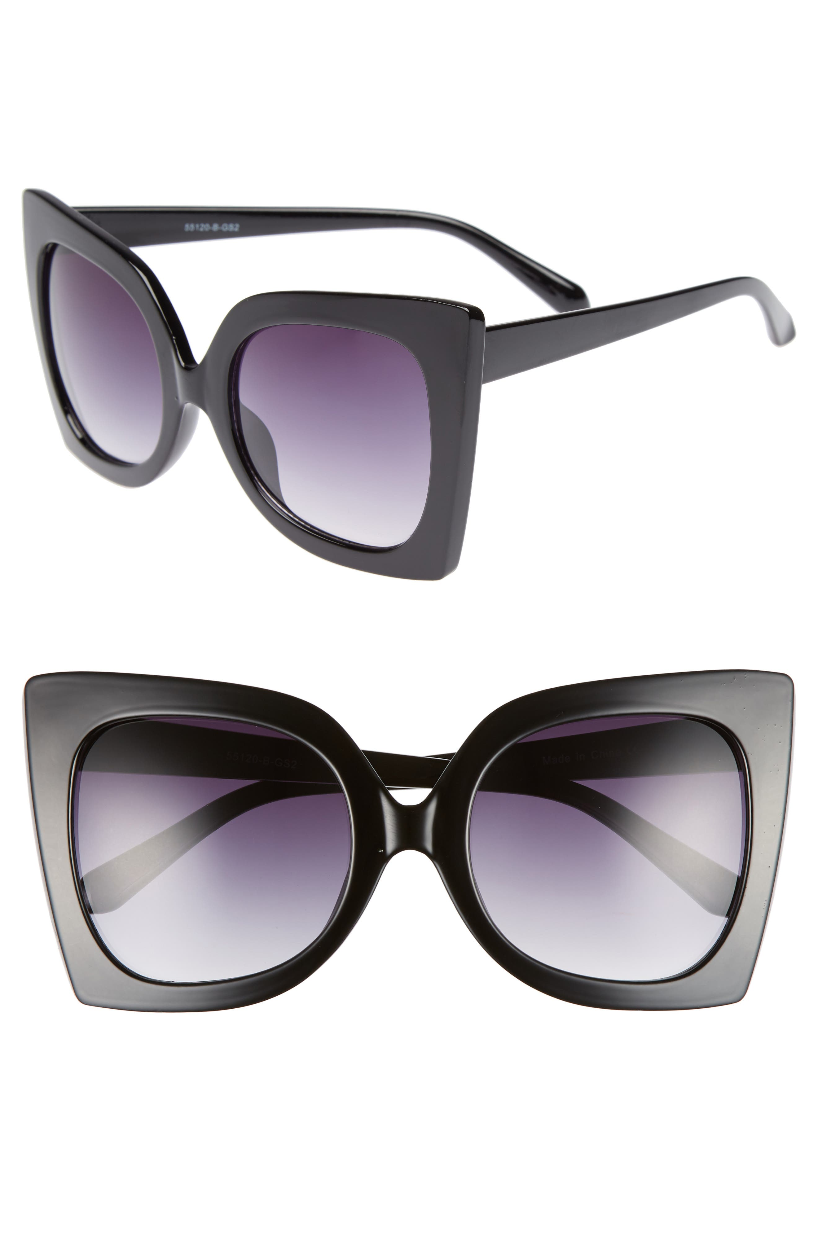 56mm Exaggerated Square Sunglasses,                             Main thumbnail 1, color,                             Black