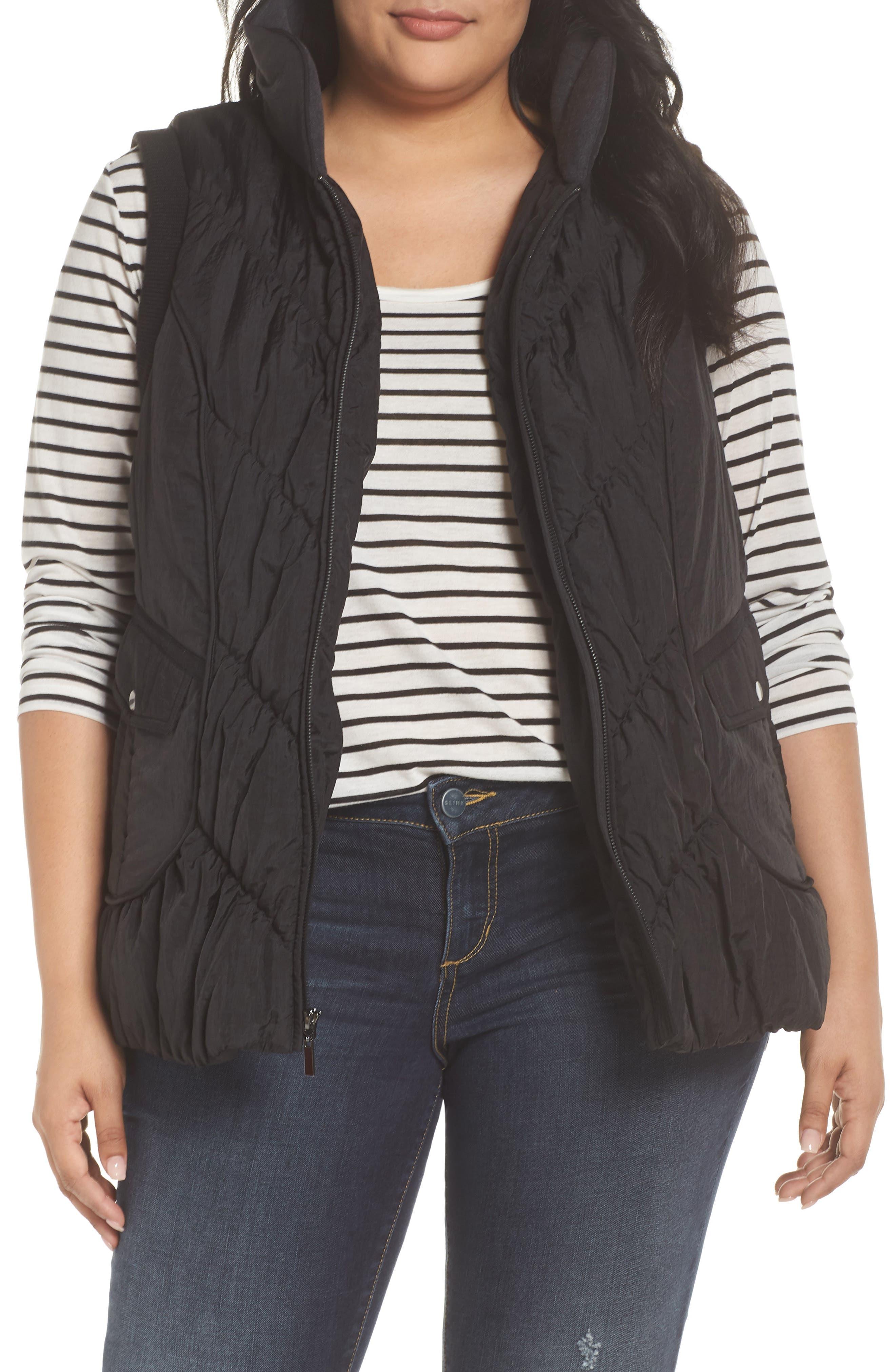 Packable Pillow Collar Vest,                             Main thumbnail 1, color,                             Black