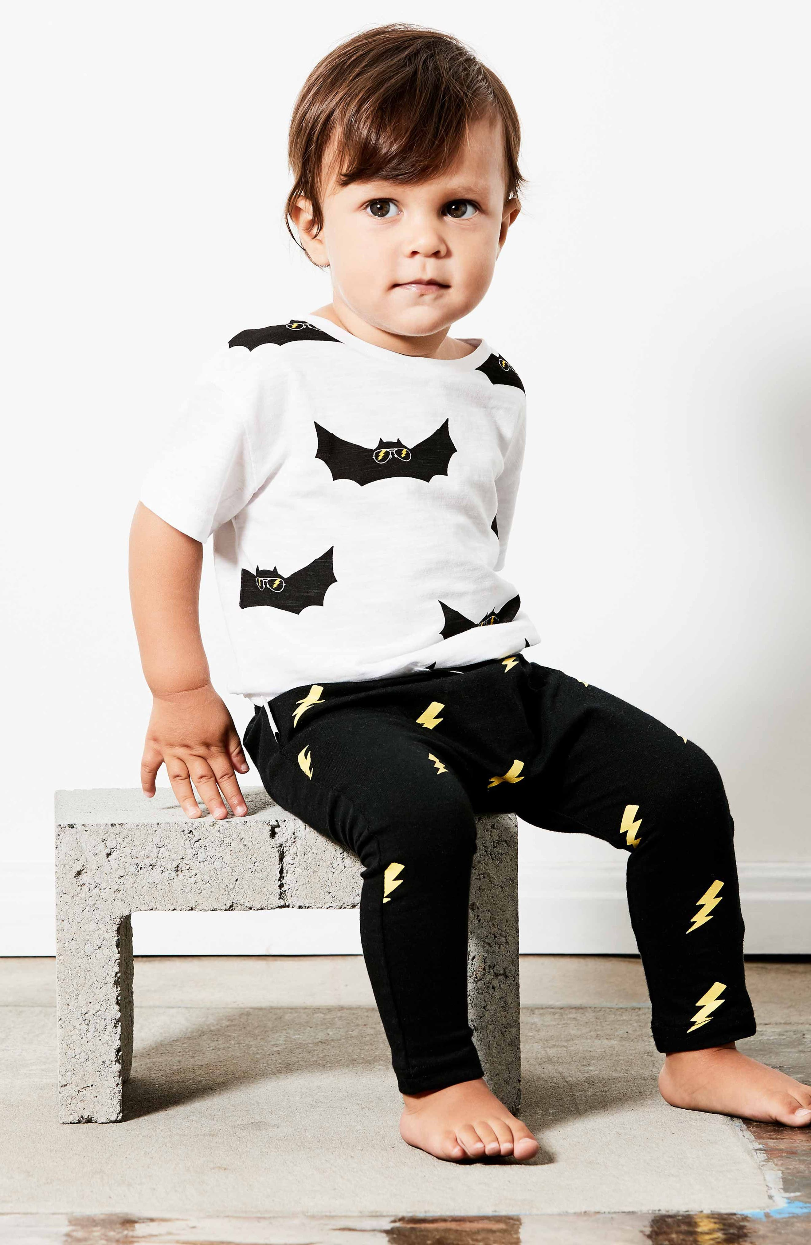 Bat Shirt & Leggings Set,                             Alternate thumbnail 3, color,                             White/ Black