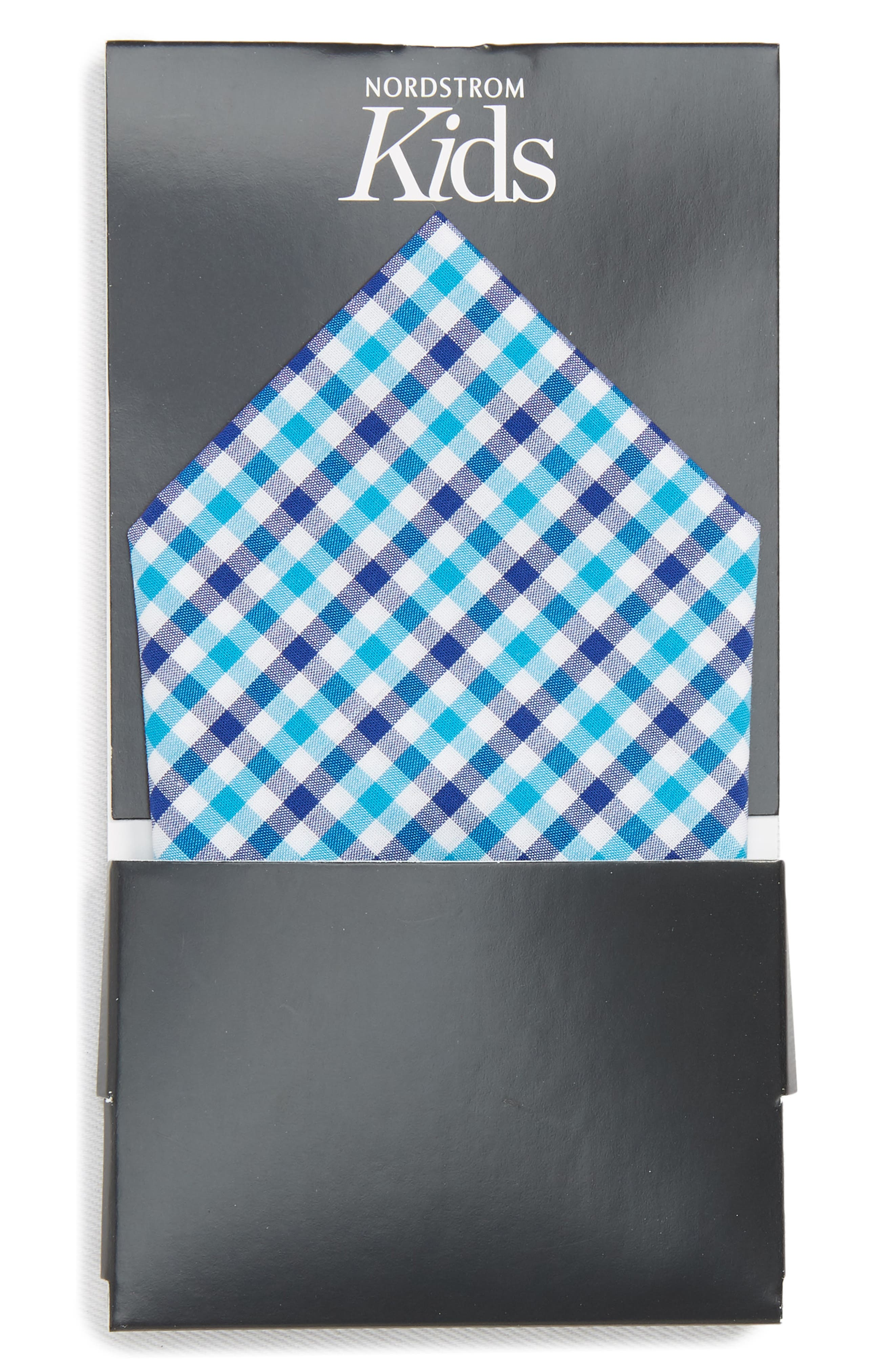 Gingham Pocket Square,                             Alternate thumbnail 3, color,                             Turquoise