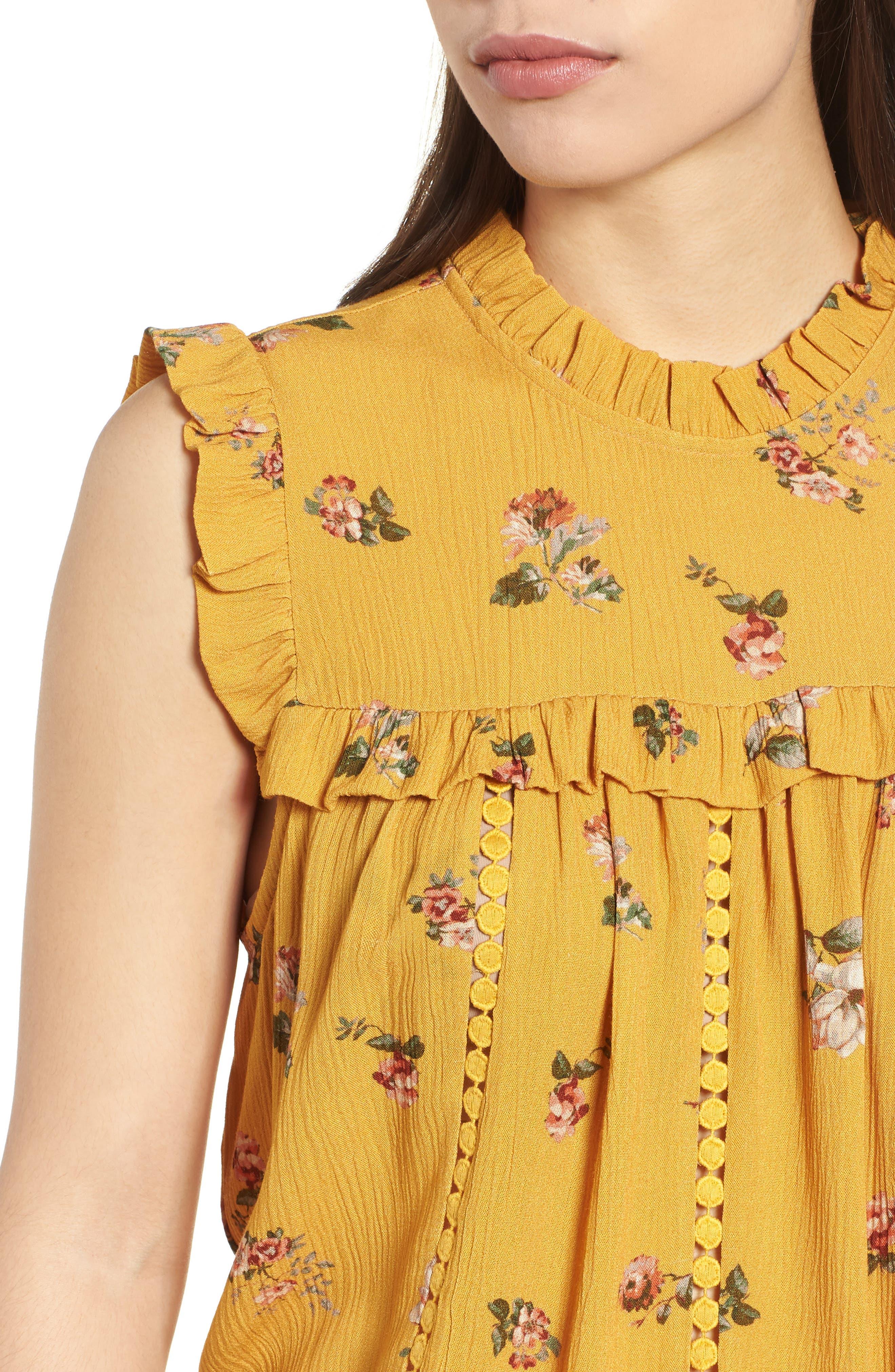 Ruffled Floral Top,                             Alternate thumbnail 4, color,                             Marigold Print