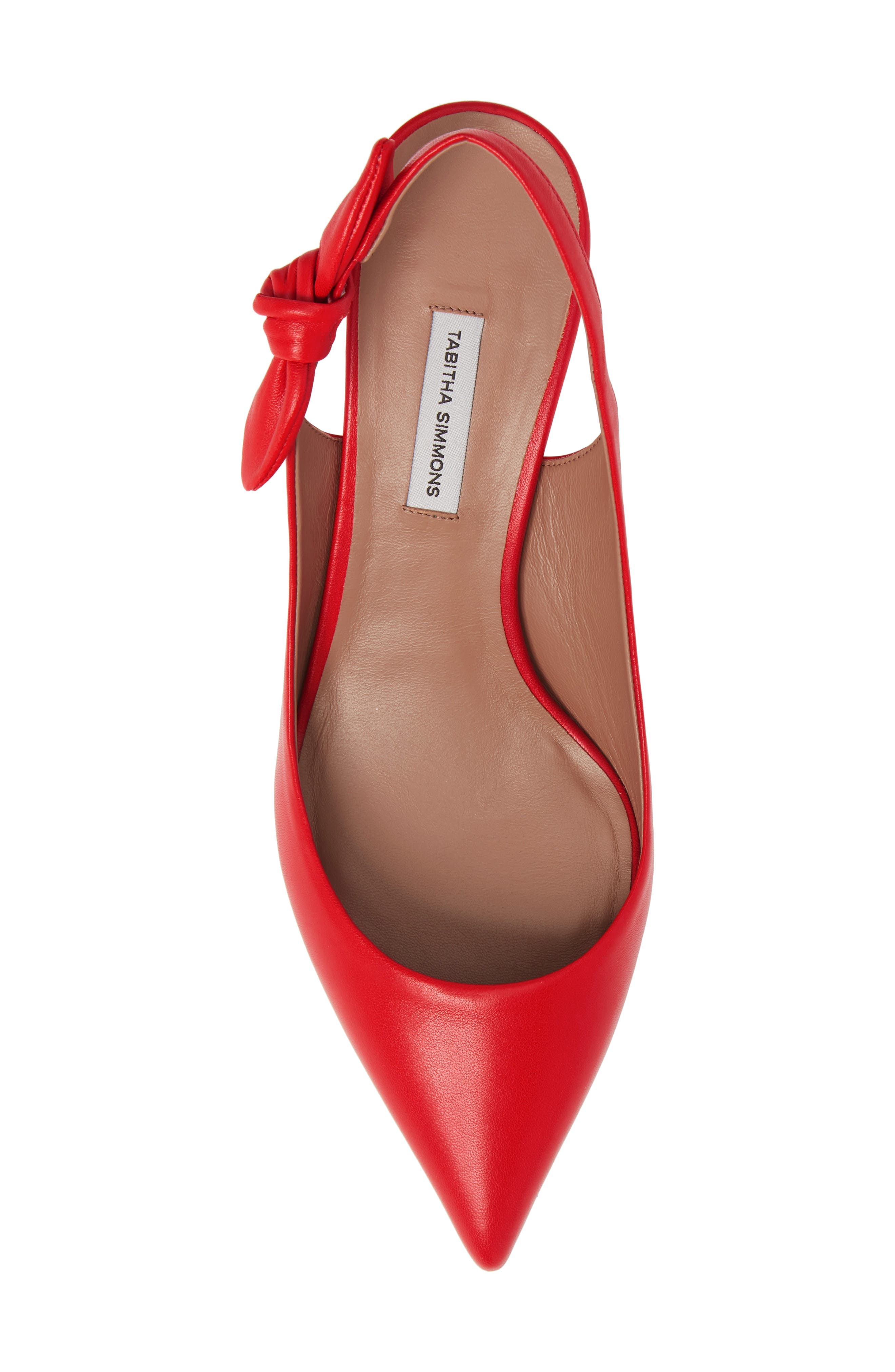 Rise Bow Slingback Pump,                             Alternate thumbnail 5, color,                             Red Leather