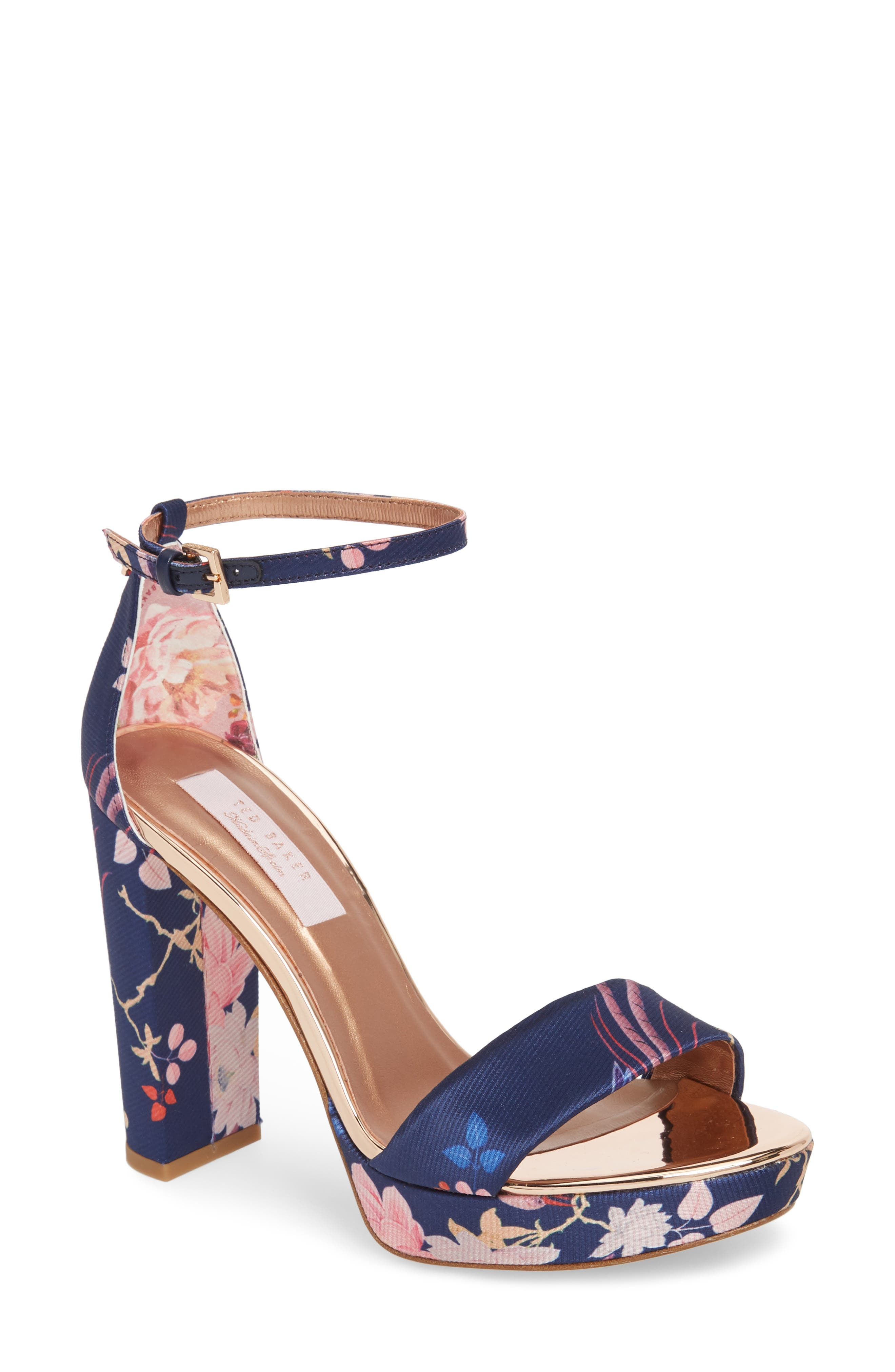 Junaa Sandal,                         Main,                         color, Navy Fabric
