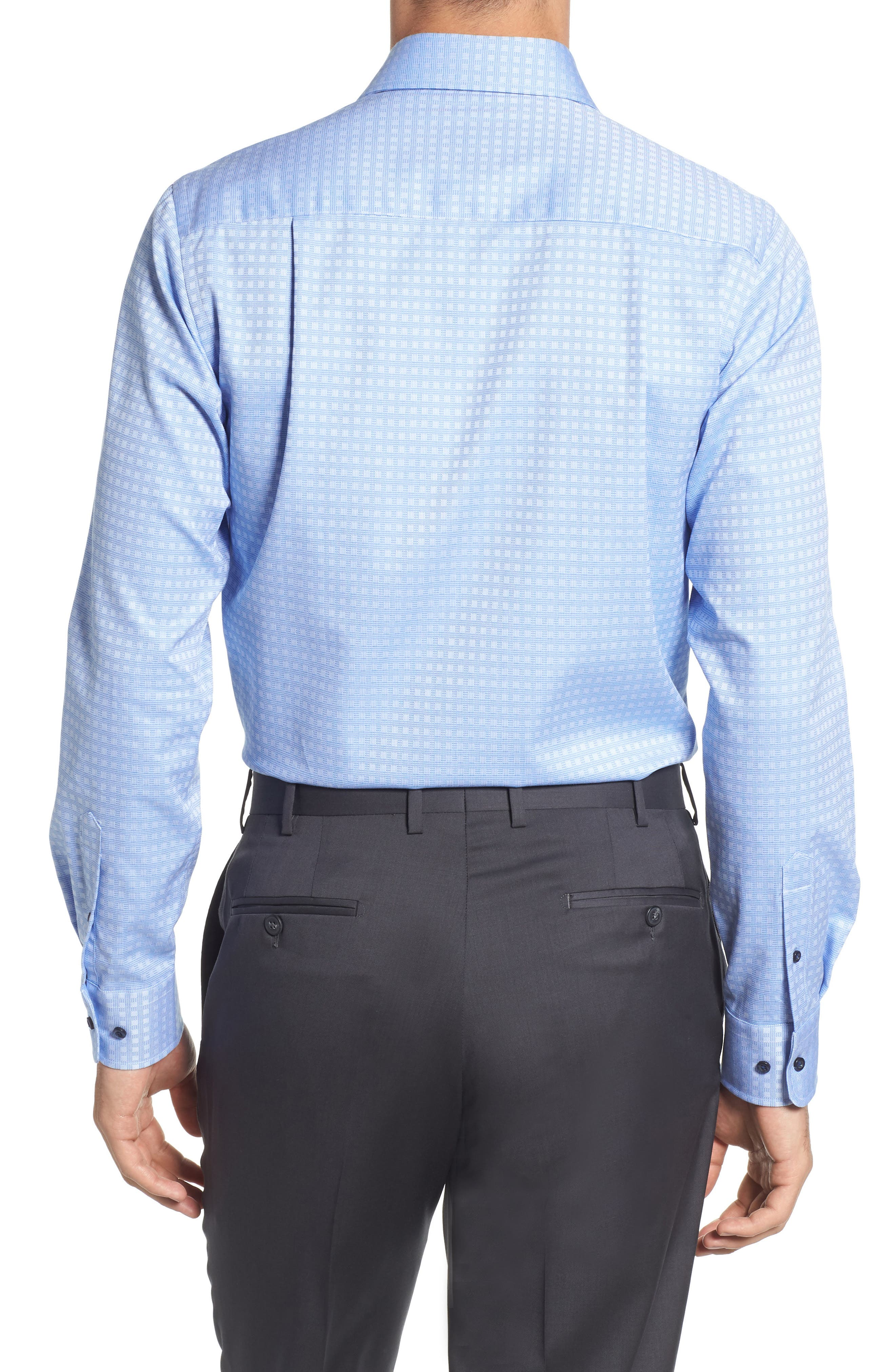 Trim Fit Check Dress Shirt,                             Alternate thumbnail 3, color,                             Blue