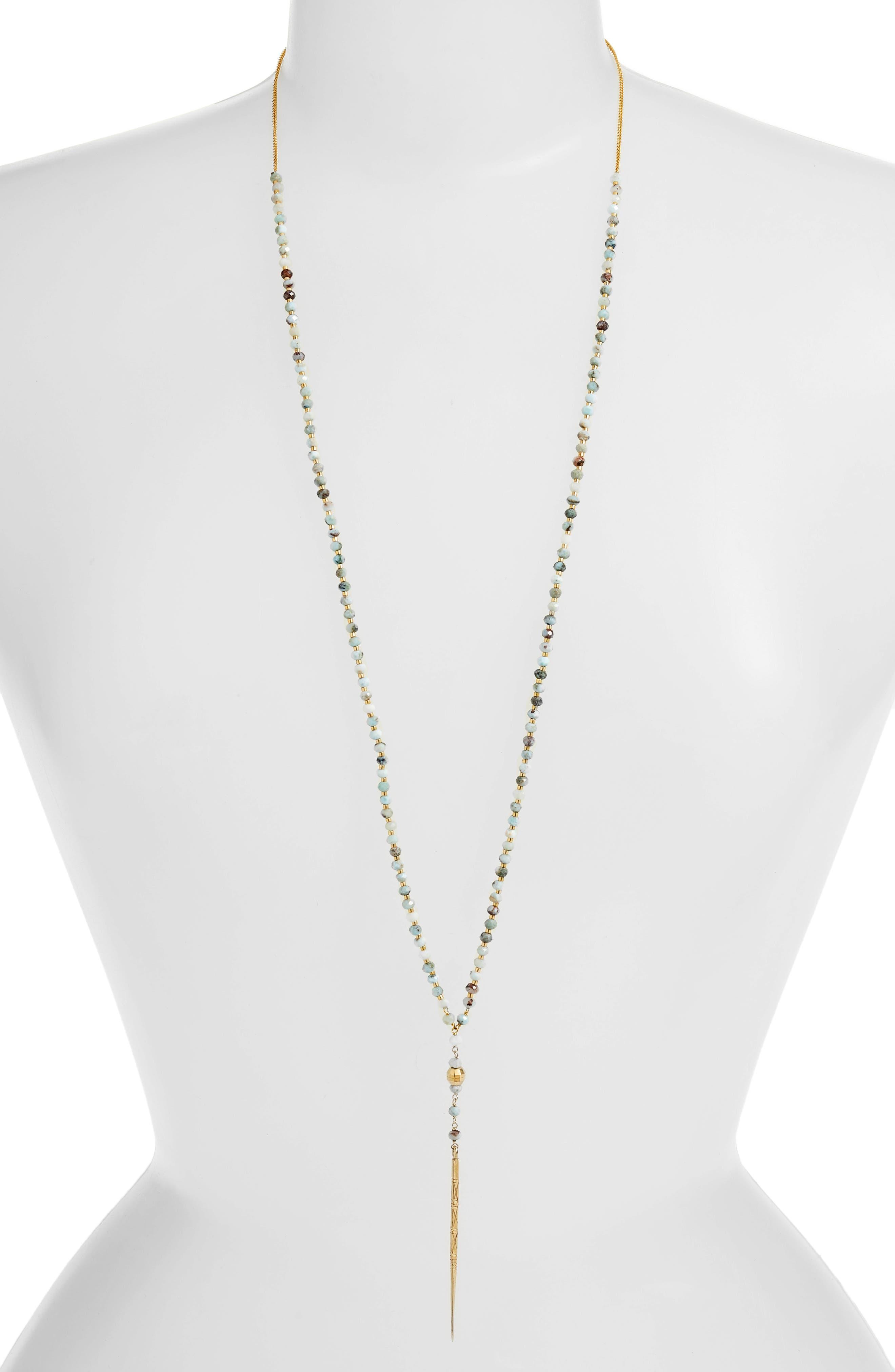 Chan Luu Larimar Mix Dagger Pendant Necklace