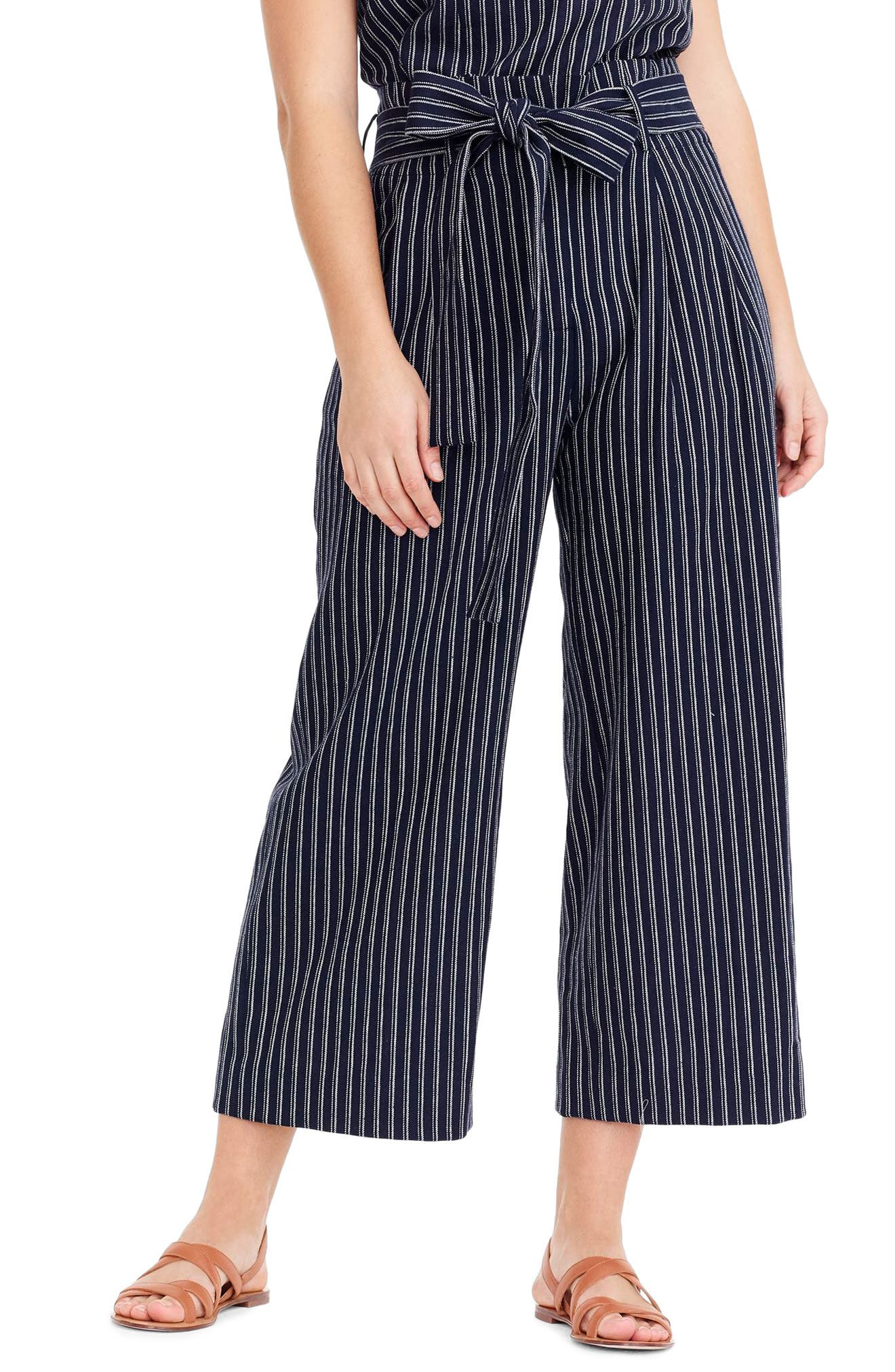 Point Sur Paperbag Pants,                         Main,                         color, Navy White Stripe
