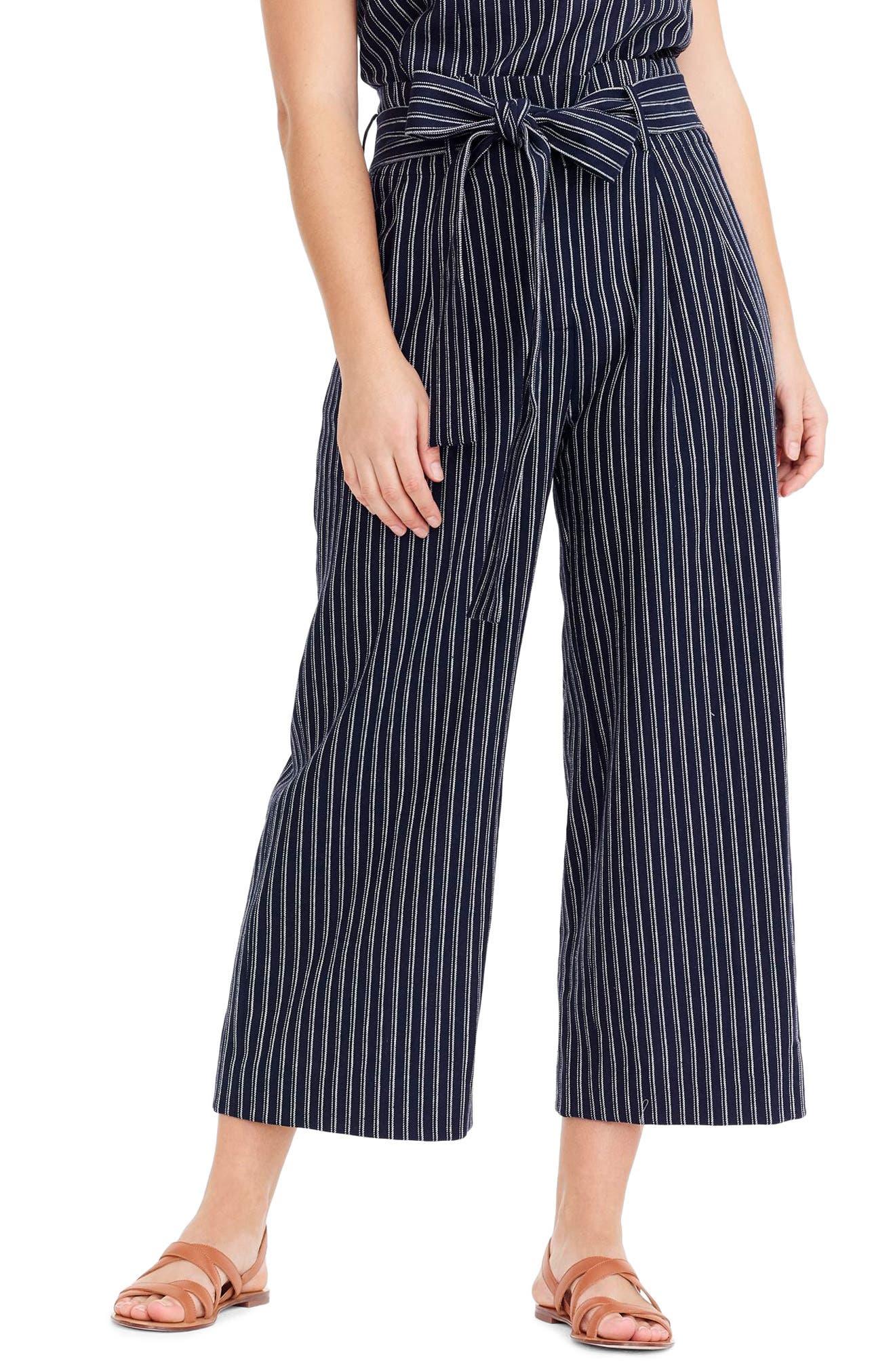 Point Sur Paperbag Pants,                         Main,                         color, Navy White Stripe