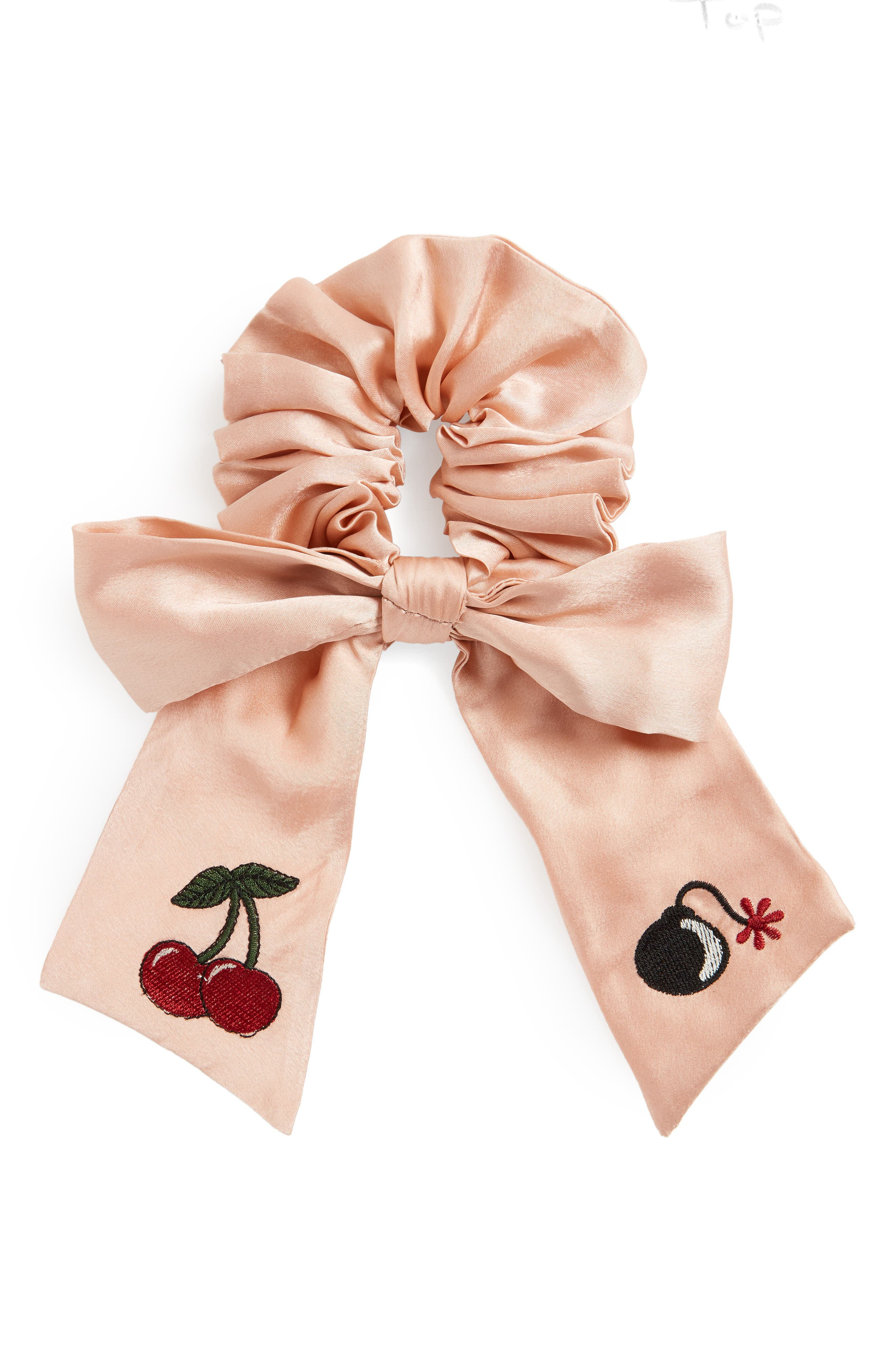 Cherry Bomb Bow Scrunchie,                         Main,                         color, Pink Satin