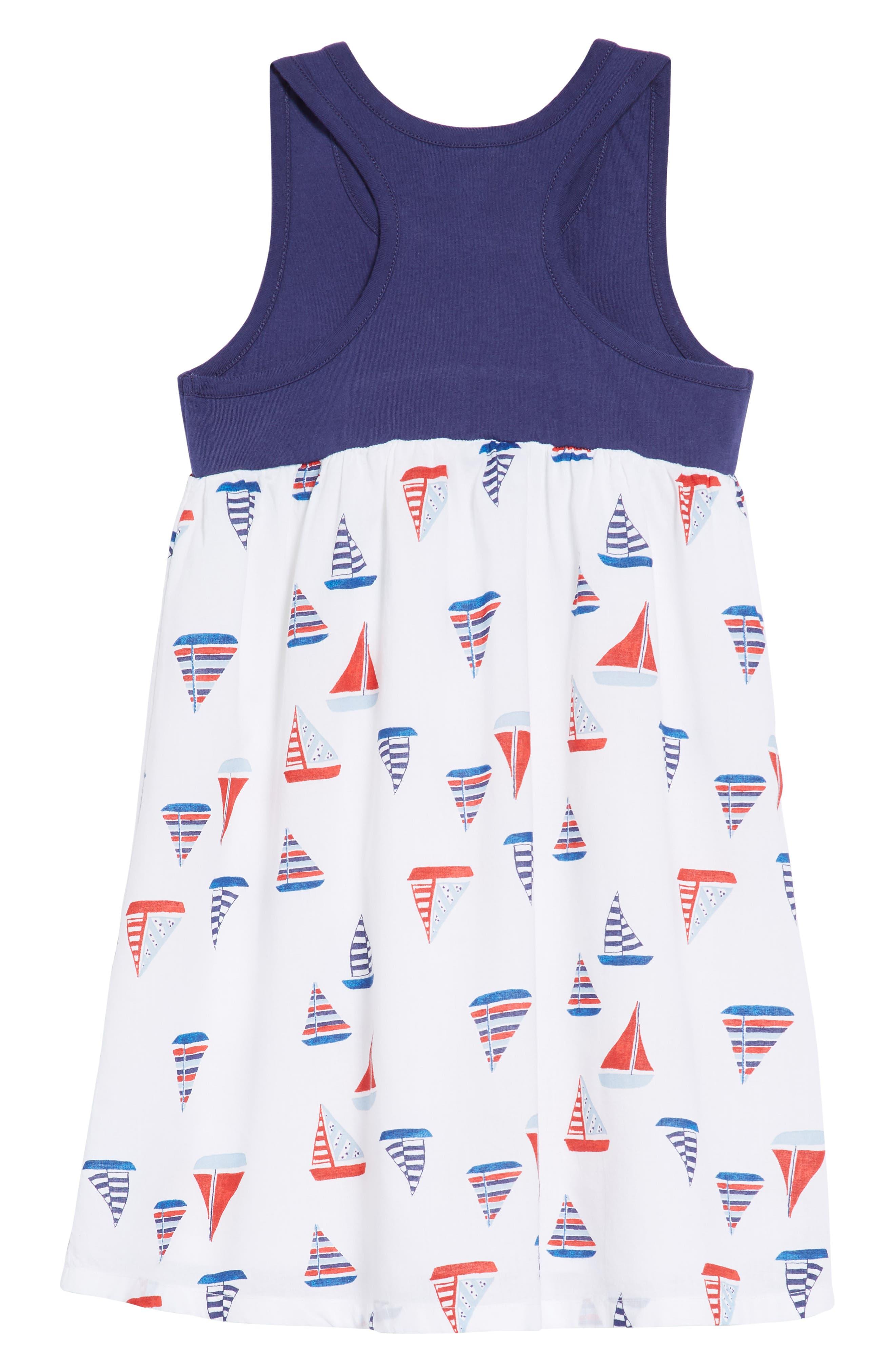 Racerback Tank Dress,                             Alternate thumbnail 2, color,                             White Multi Sailboats