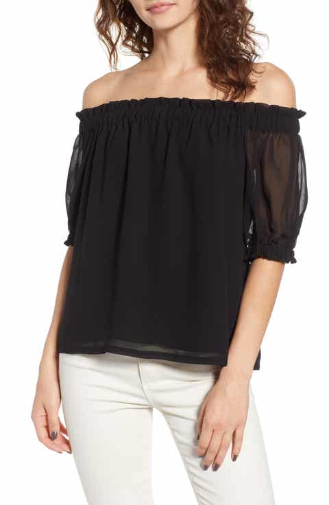 1STATE Off the Shoulder Gauze Chiffon Blouse