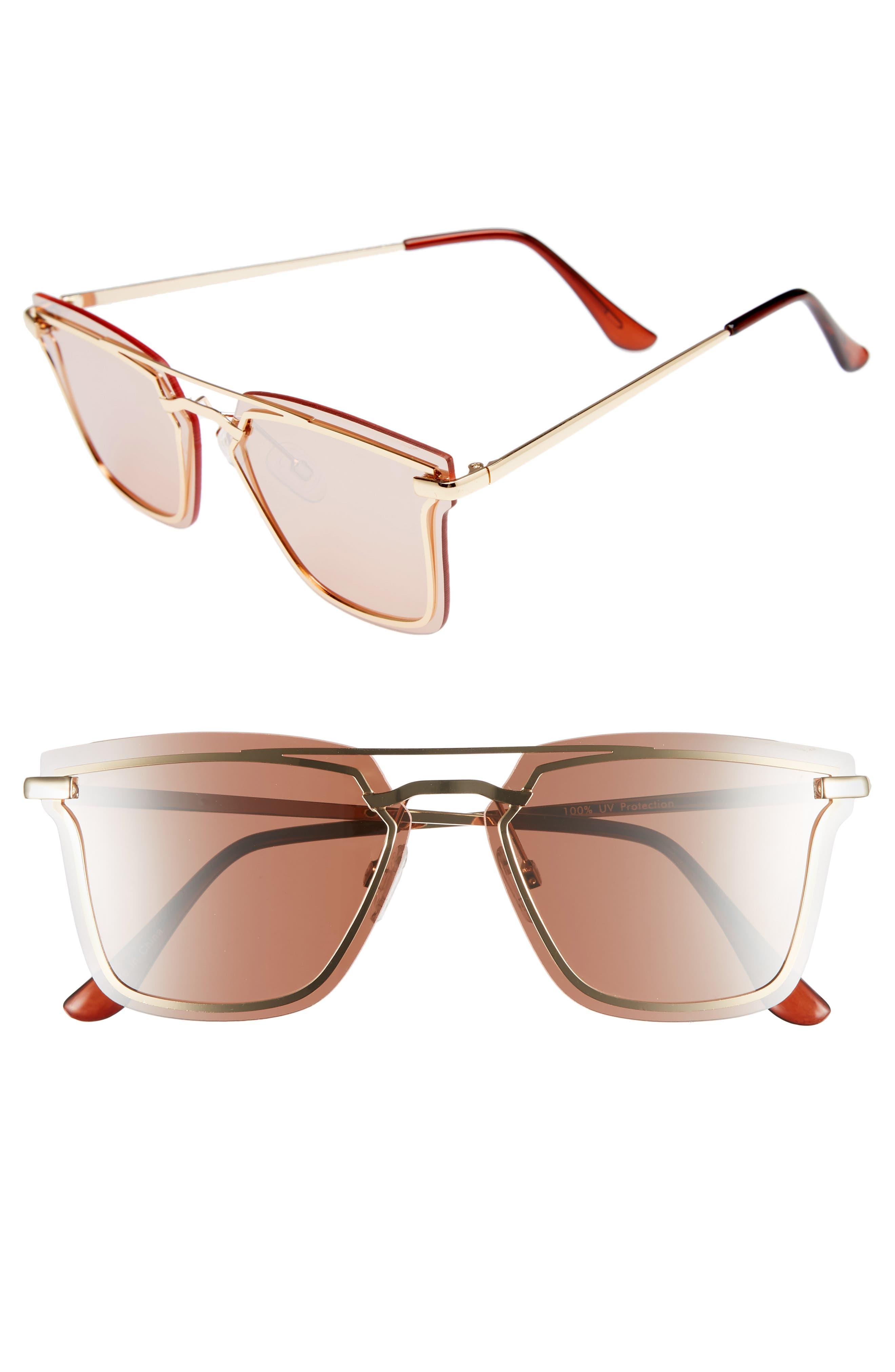 Leith 60mm Metal Trim Flat Aviator Sunglasses