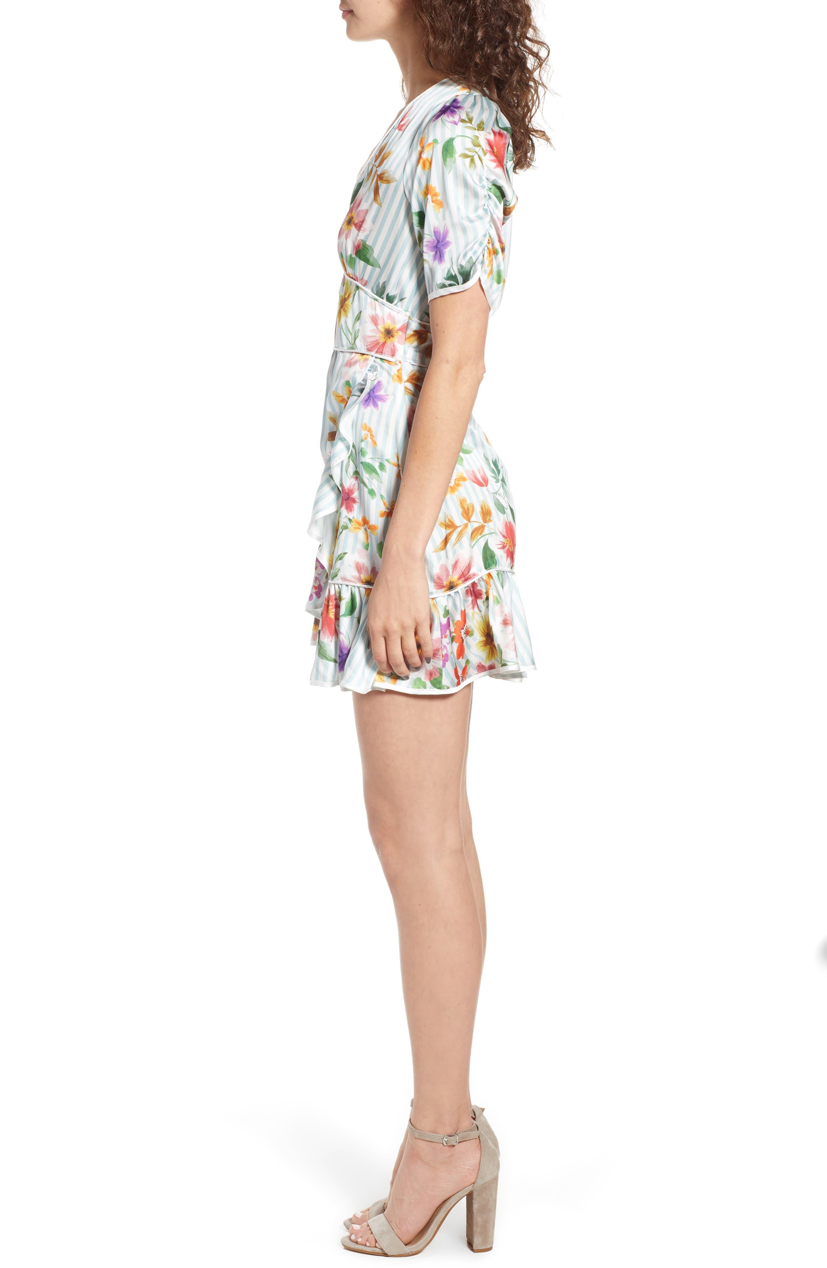Barb Ruffle Dress,                             Alternate thumbnail 3, color,                             Blue Flowerbed