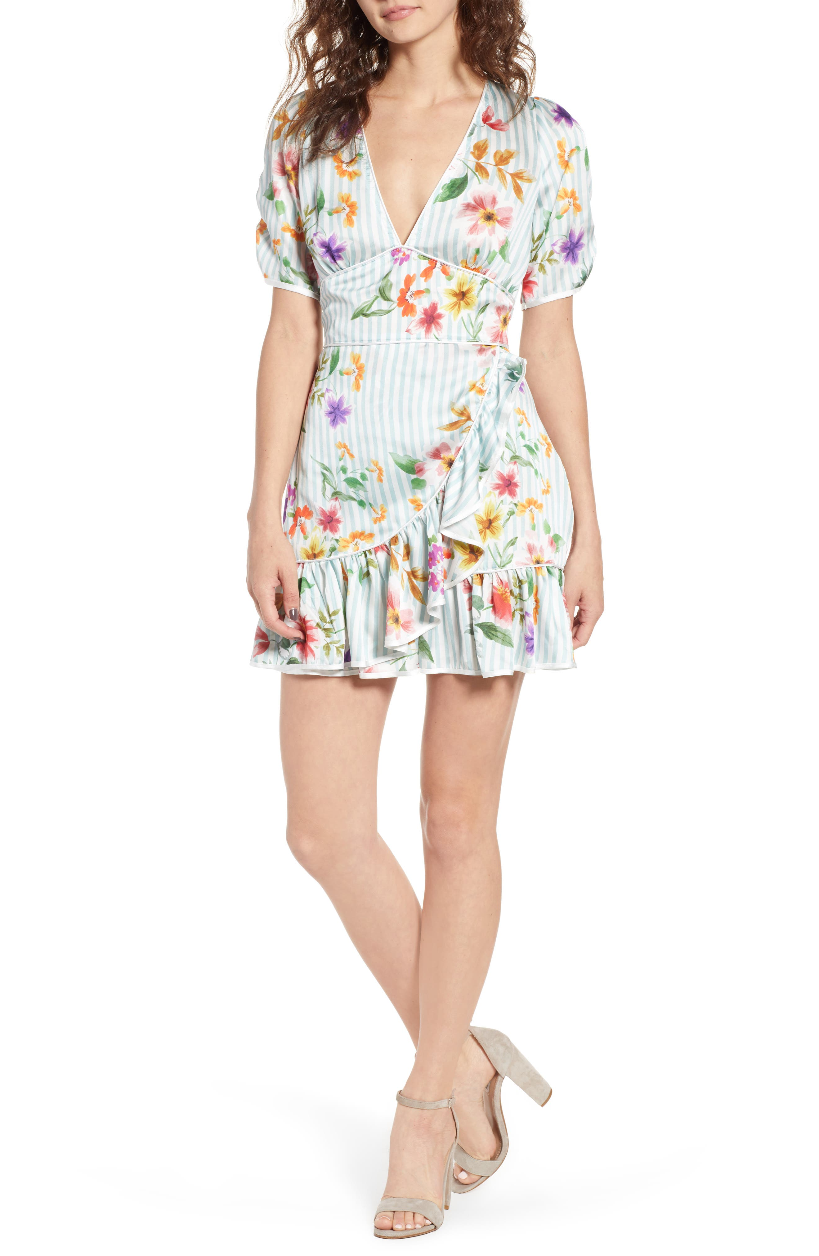 Barb Ruffle Dress,                         Main,                         color, Blue Flowerbed