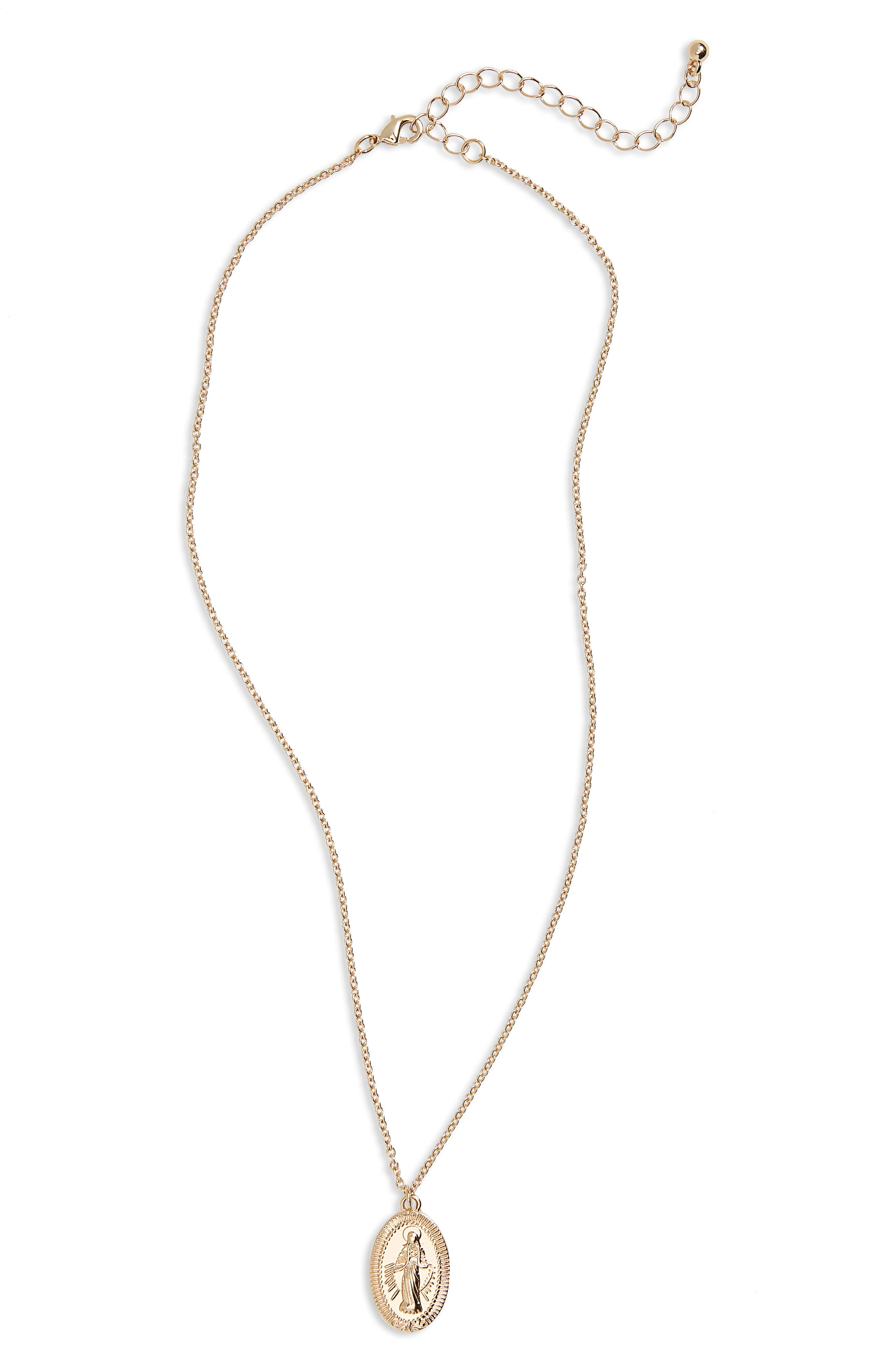 Rosary Medallion Necklace,                         Main,                         color, Gold