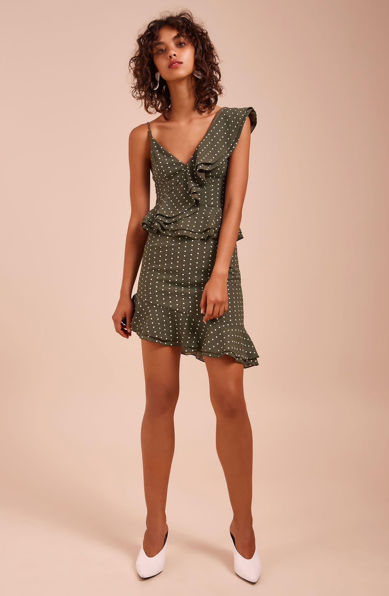 Entice Dot Ruffle Trim Dress,                             Alternate thumbnail 7, color,                             Khaki W Ivory Spot