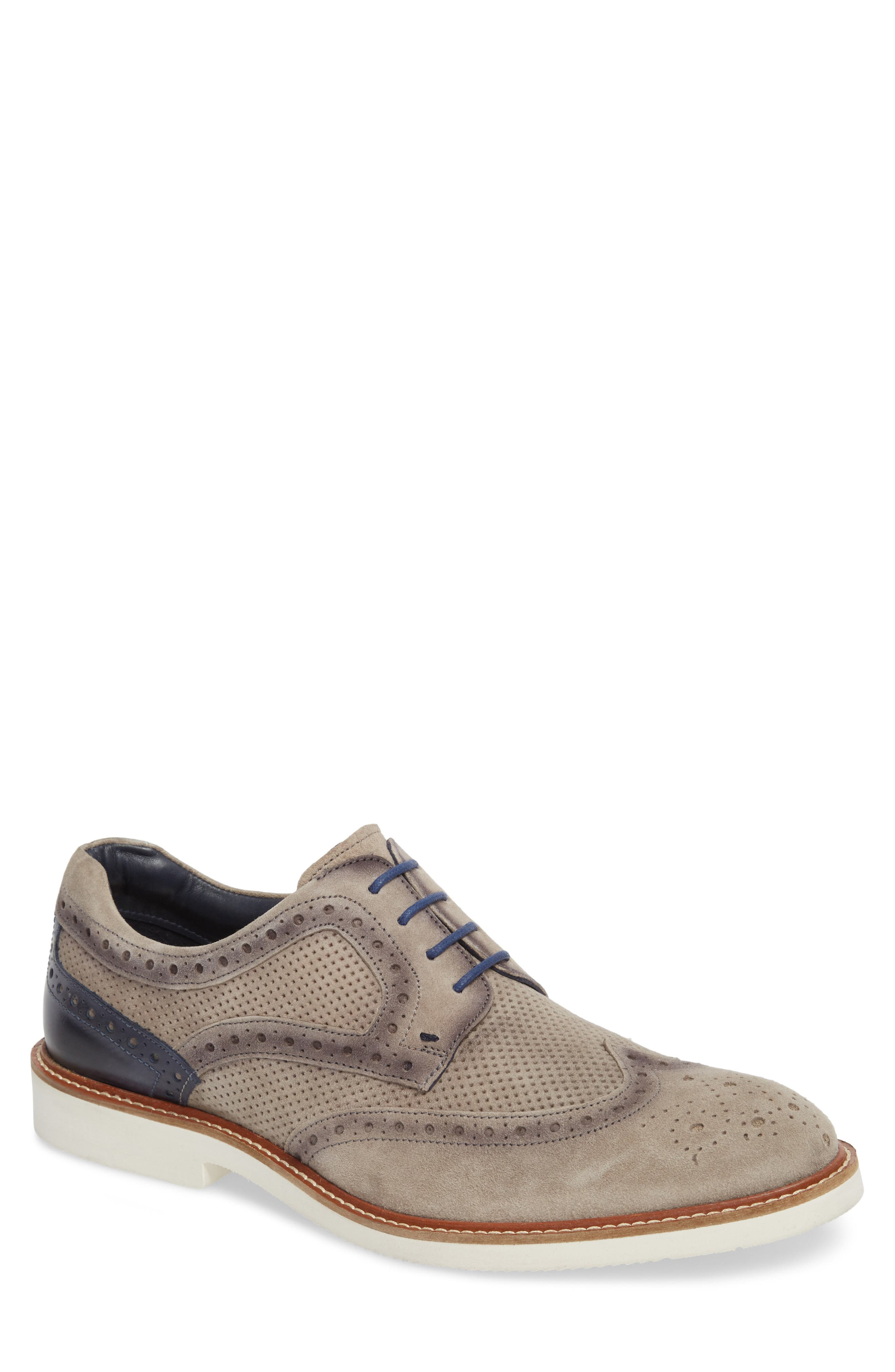 Shaw Perforated Wingtip Derby,                             Main thumbnail 1, color,                             Grey Suede