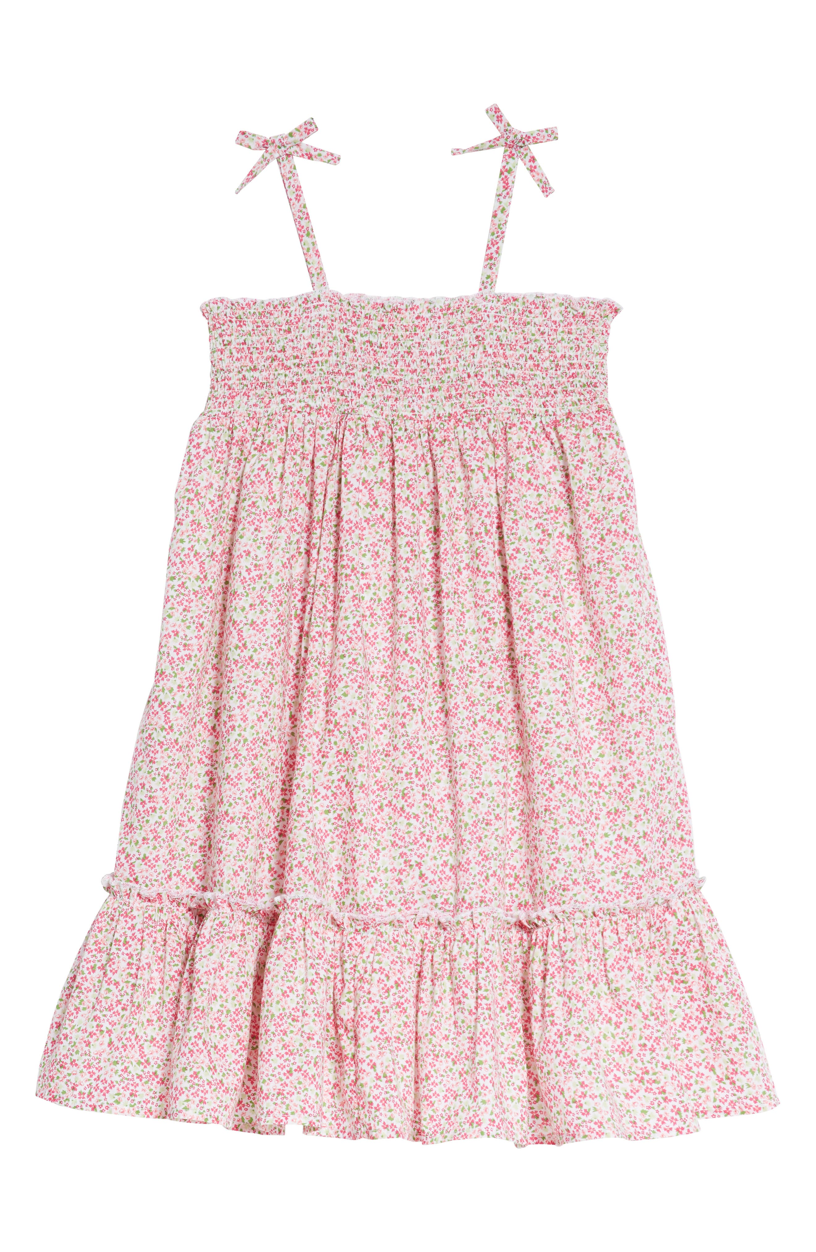 Smocked Ditzy Dress,                         Main,                         color, White- Pink Dense Floral