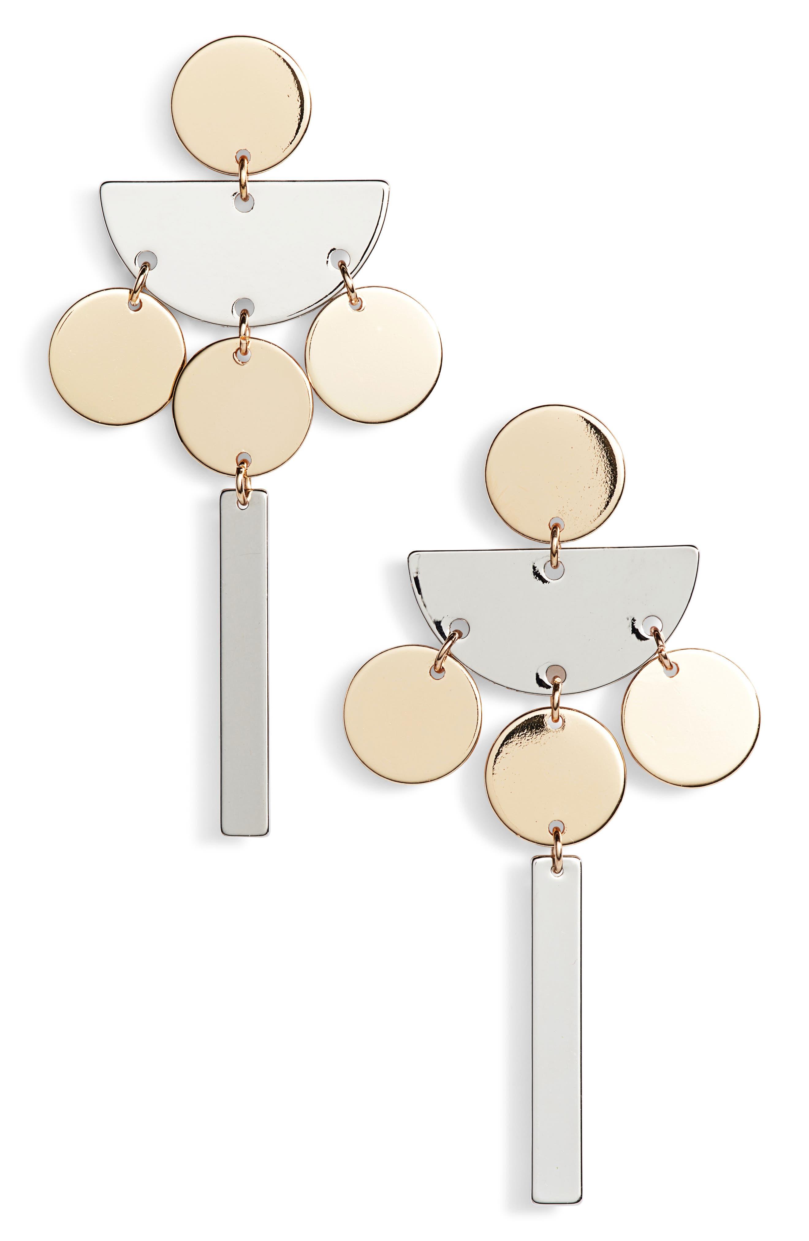 Geometric Drop Earrings,                         Main,                         color, Gold/ Silver
